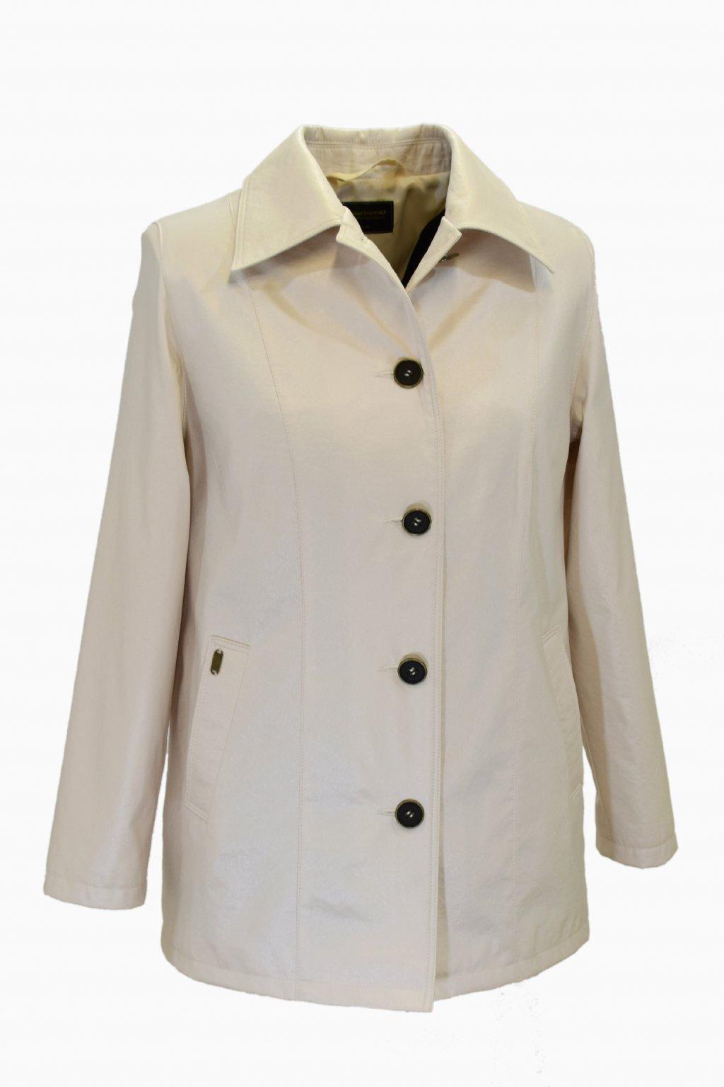 Dámský jarní smetanový kabátek Květa nadměrné velikosti.