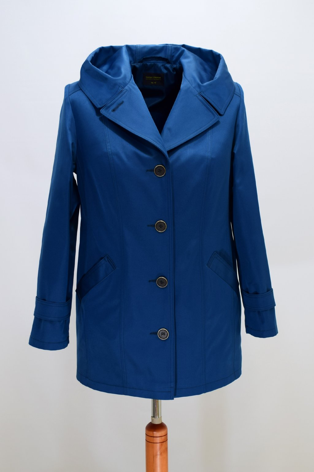 Dámský jarní  petrolový kabátek Šantal nadměrné velikosti.