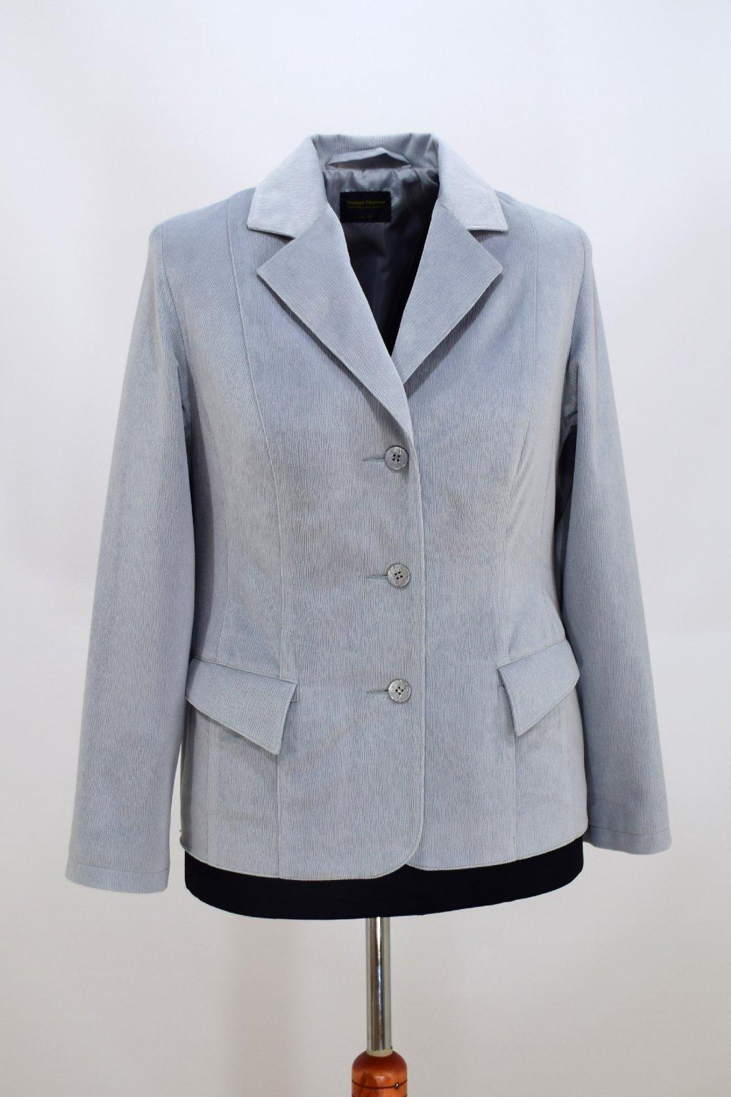 Dámské šedé sako Manon - sametový vzhled.