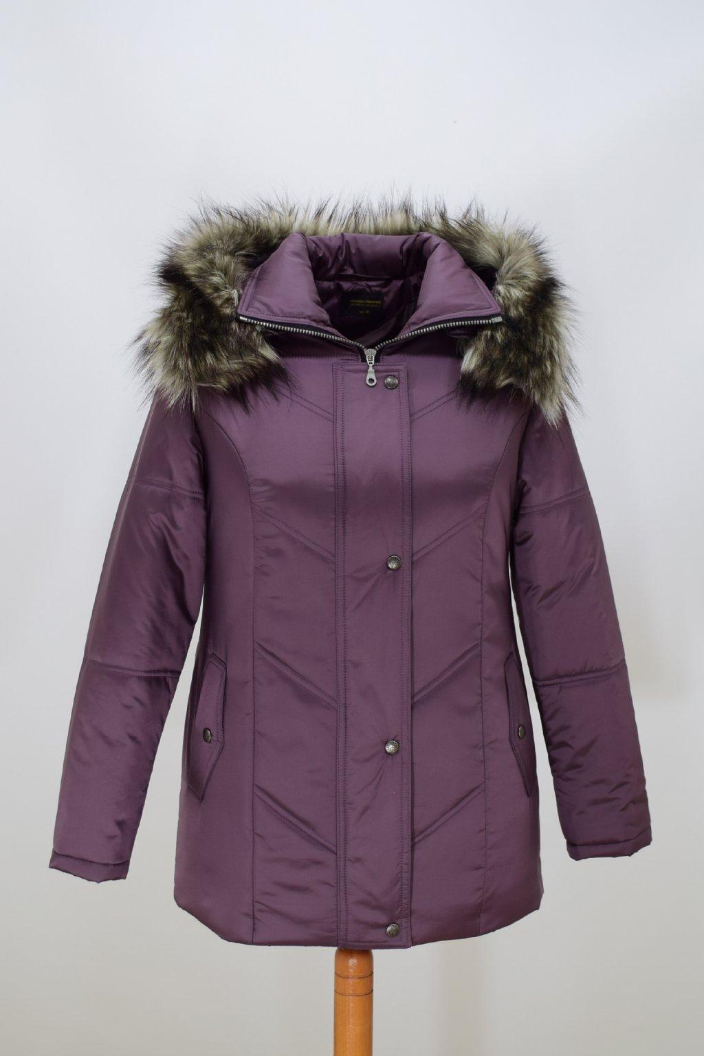 Dámská lila zimní bunda Saša nadměrné velikosti