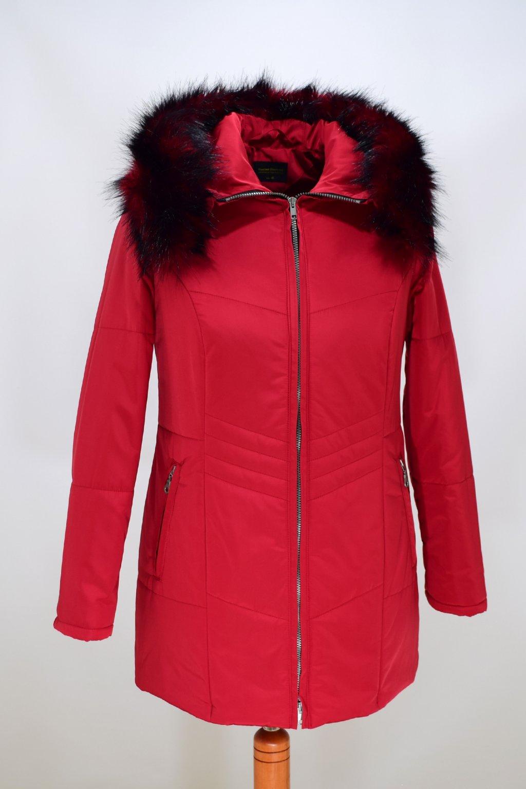 Dámská červená zimní bunda Judita nadměrné velikosti
