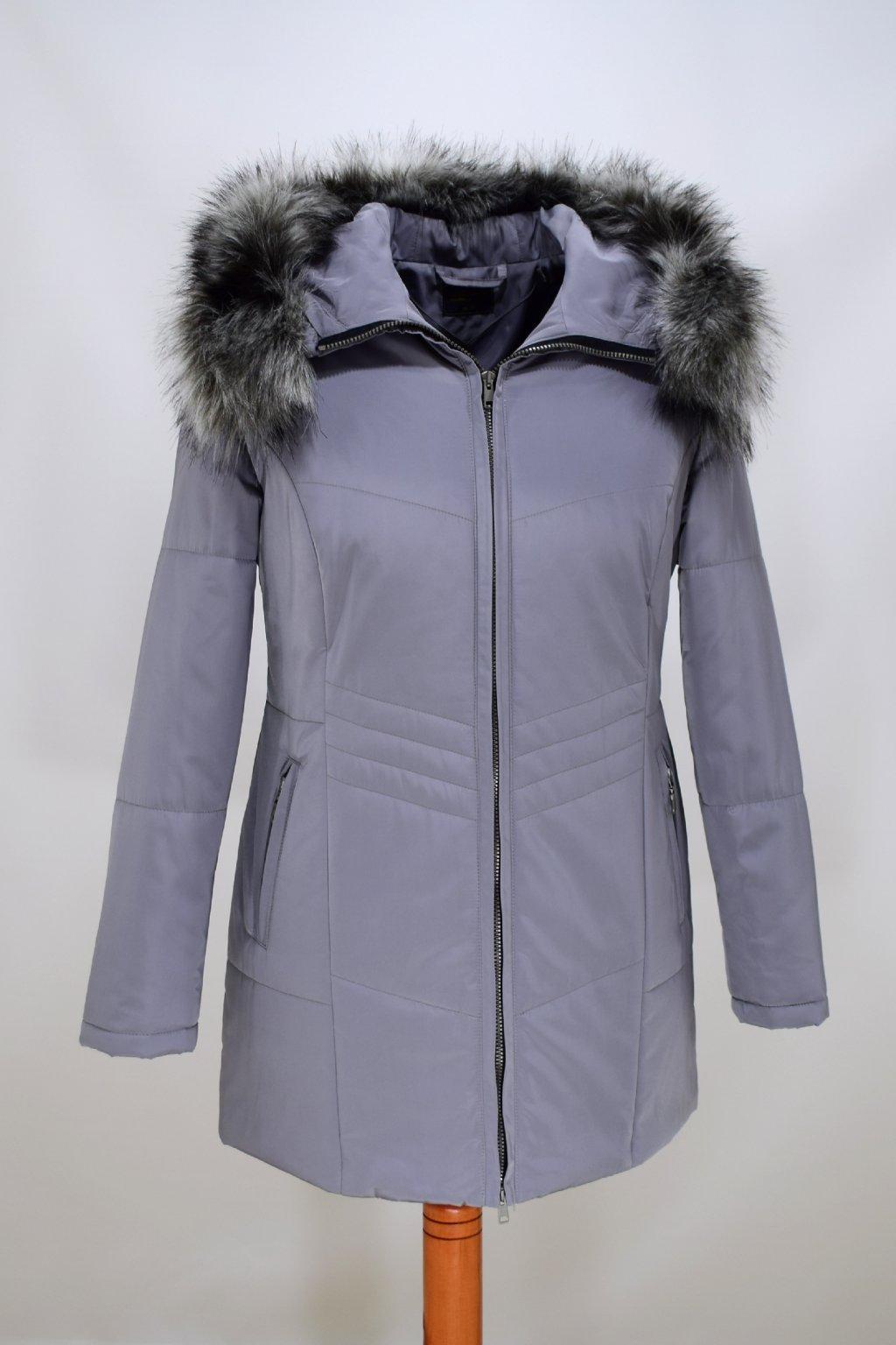 Dámská šedá zimní bunda Judita nadměrné velikosti