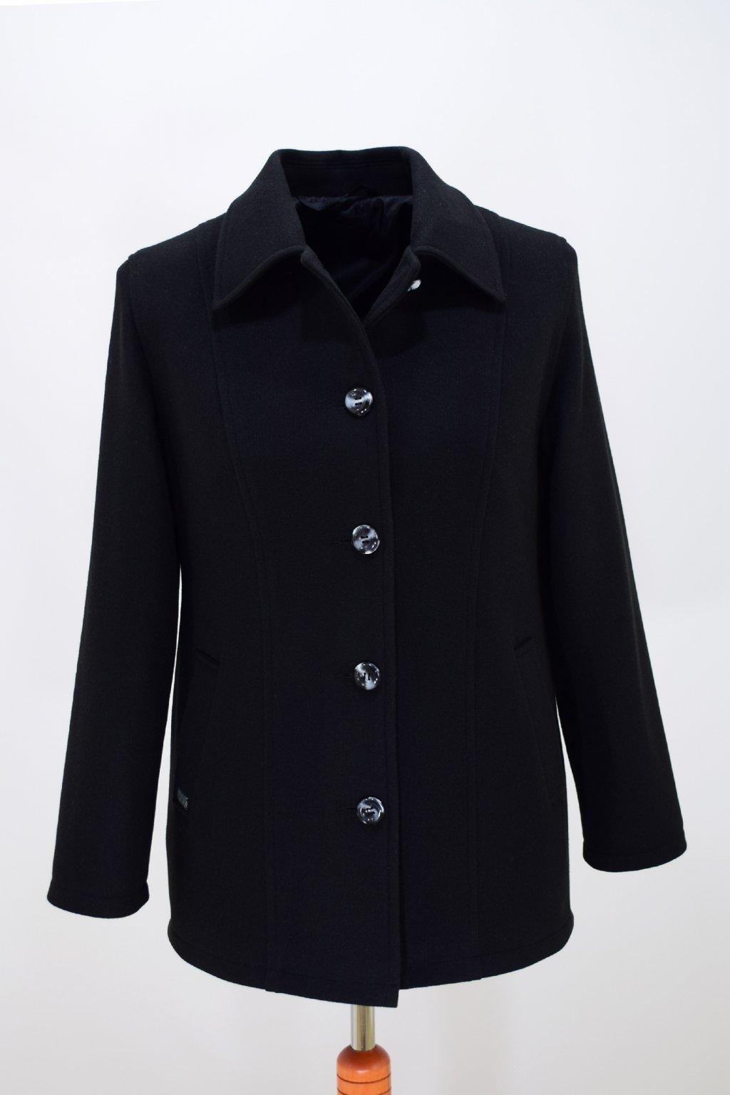 Dámský černý přechodový kabátek Dorka nadměrné velikosti.