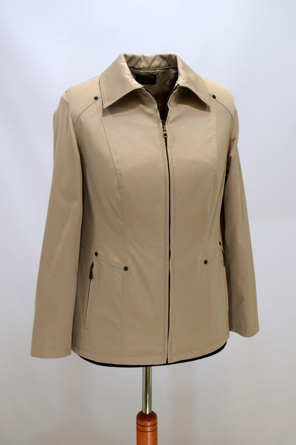 Dámská béžová jarní bunda Hana nadměrné velikosti.