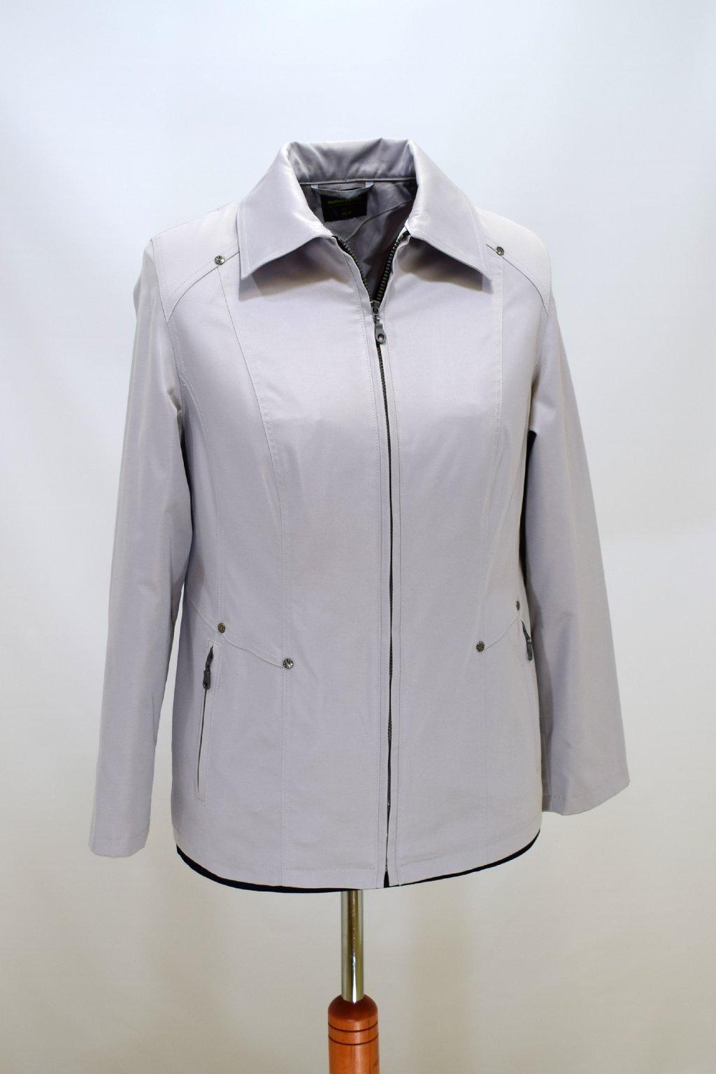 Dámská světle šedá jarní bunda Hana nadměrné velikosti.