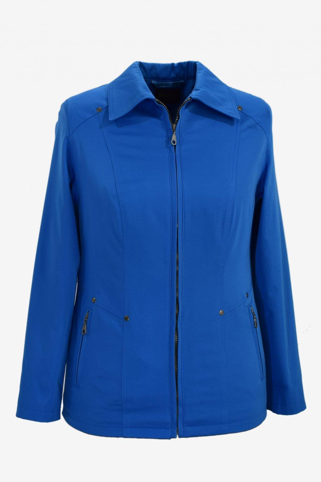 Dámská modrá jarní bunda Hana nadměrné velikosti.