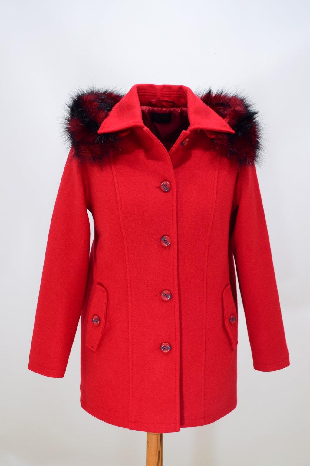 Dámský červený zimní kabát Alice nadměrné velikosti.