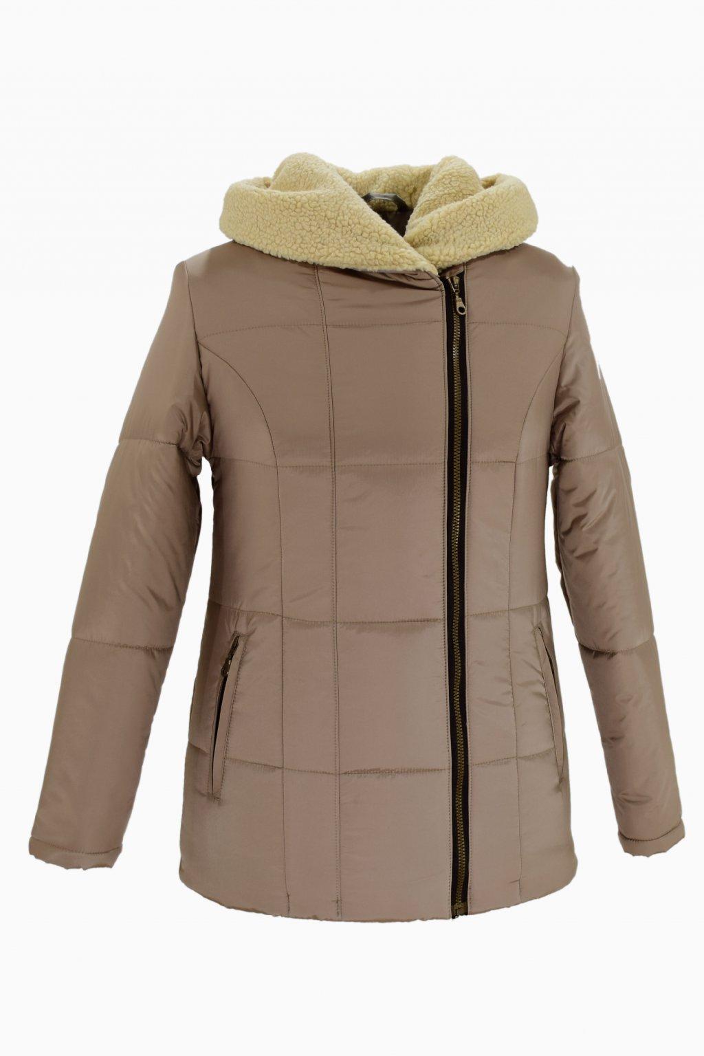 Dámská béžová zimní bunda XENA nadměrné velikosti.