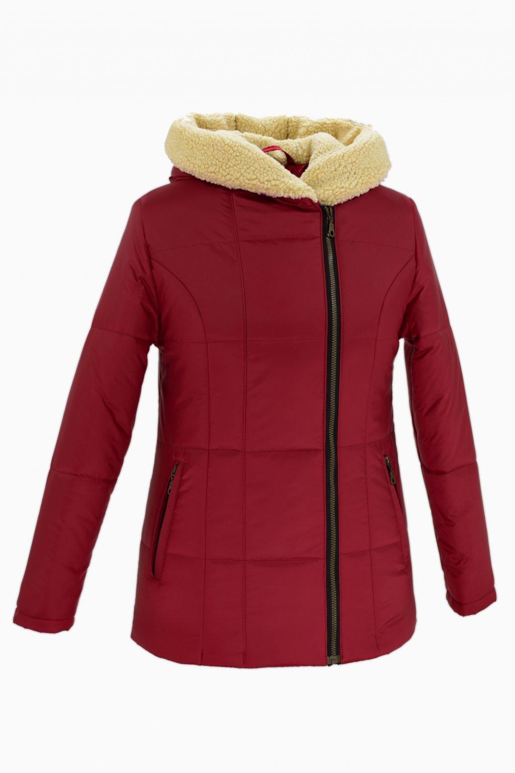 Dámská červená zimní bunda XENA nadměrné velikosti.