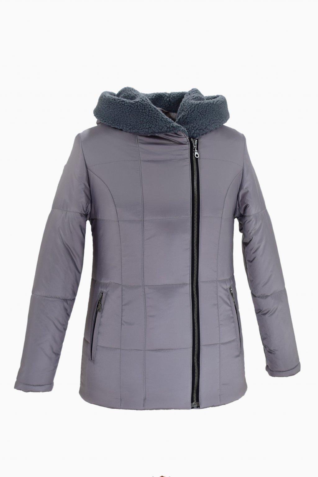 Dámská šedá zimní bunda XENA nadměrné velikosti.
