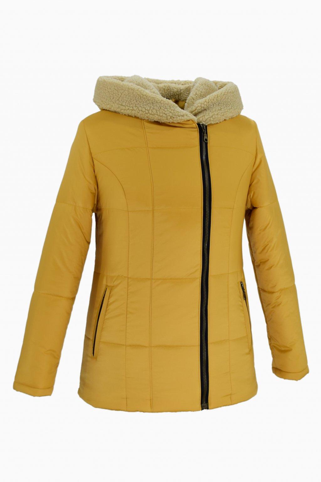 Dámská žlutá zimní bunda XENA nadměrné velikosti.