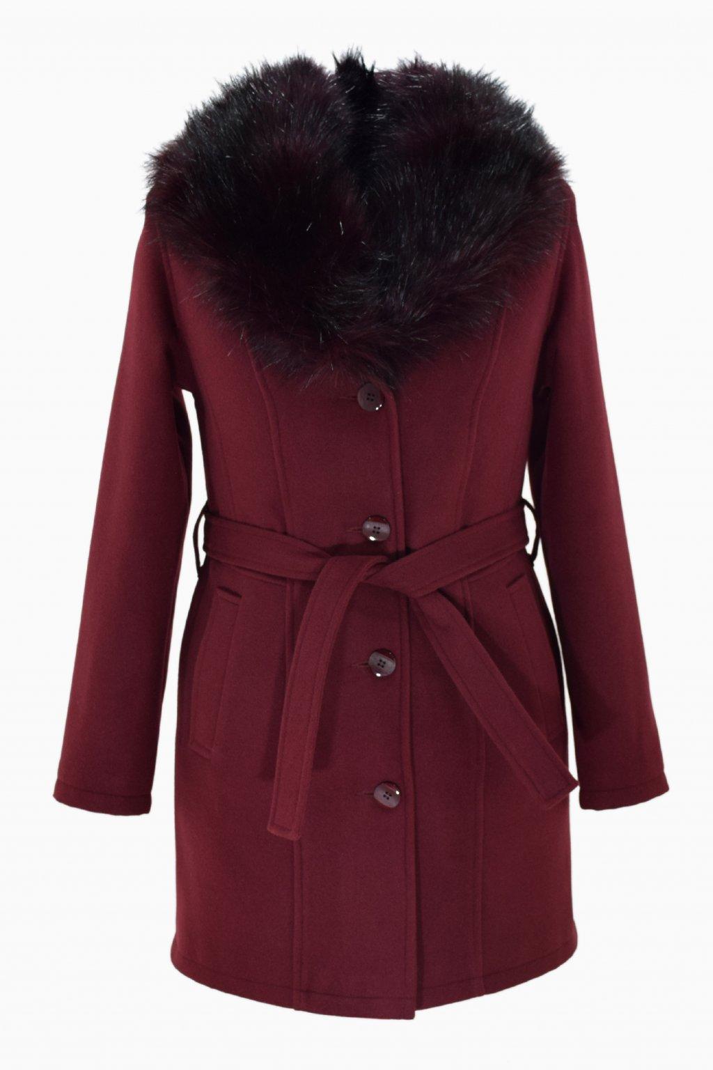 Dámský vínový zimní kabát s kožešinou Julie.