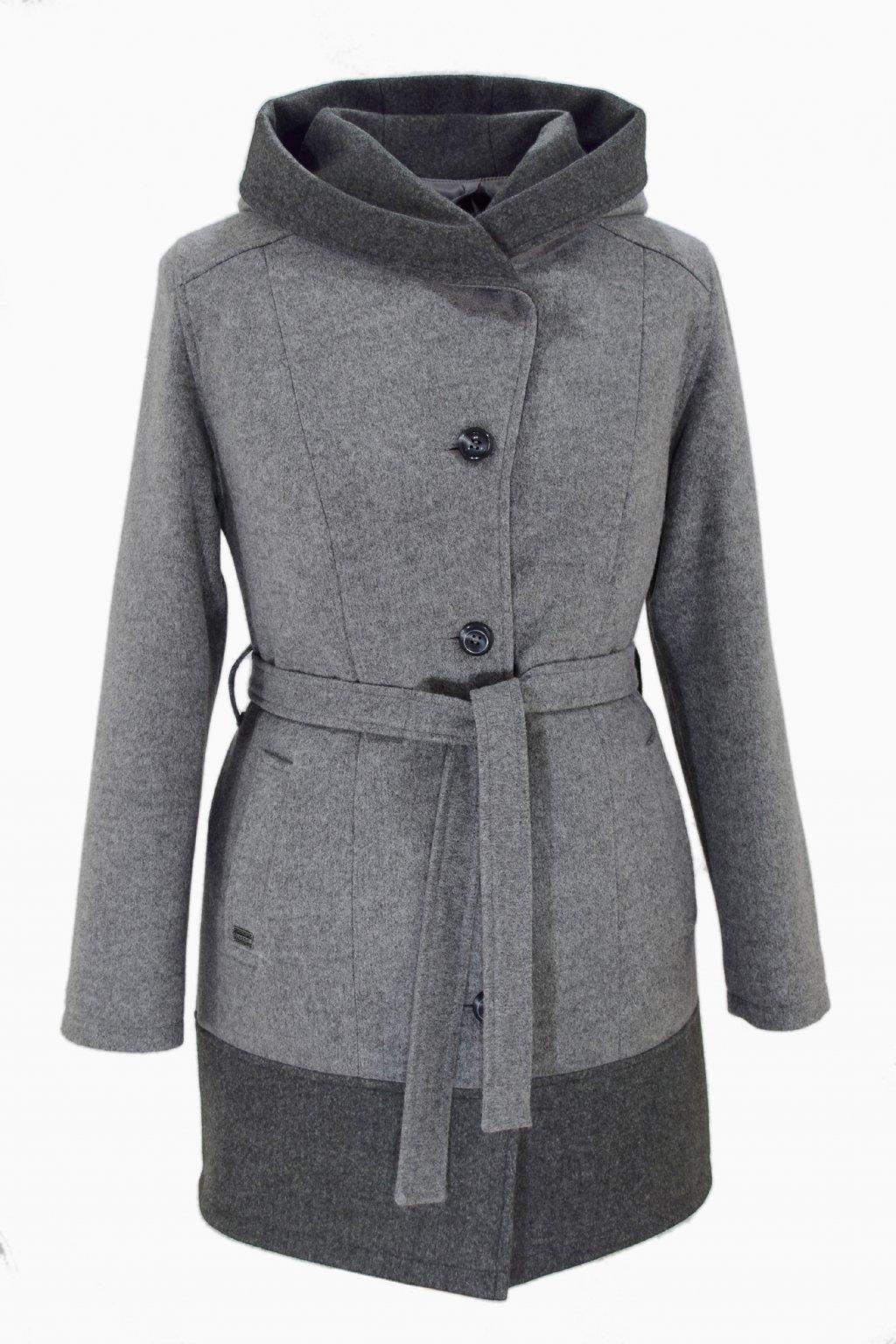 Dámský světle šedý zimní kabát Mája