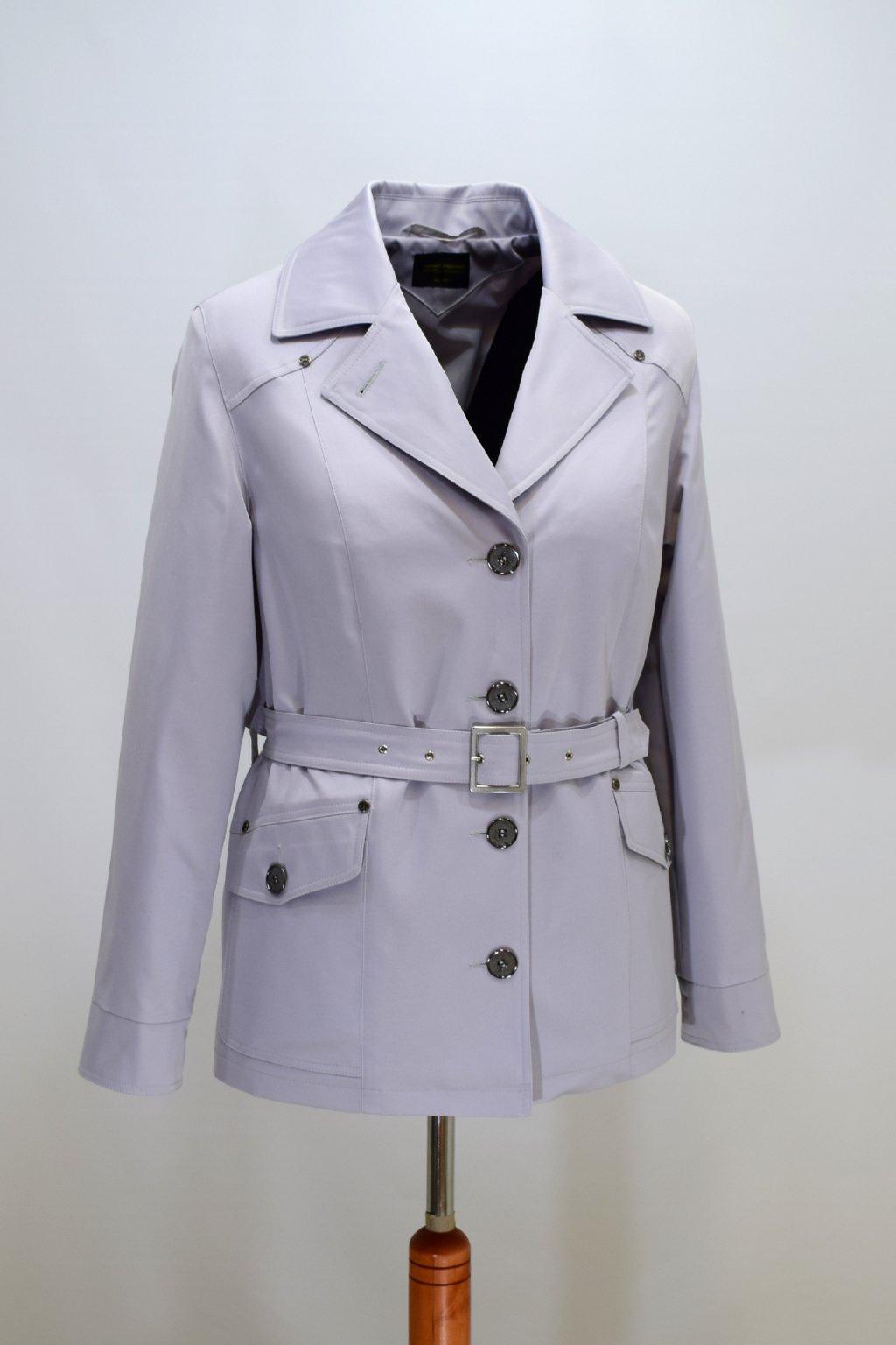 Dámský světle šedý jarní kabátek Gábina nadměrné velikosti.