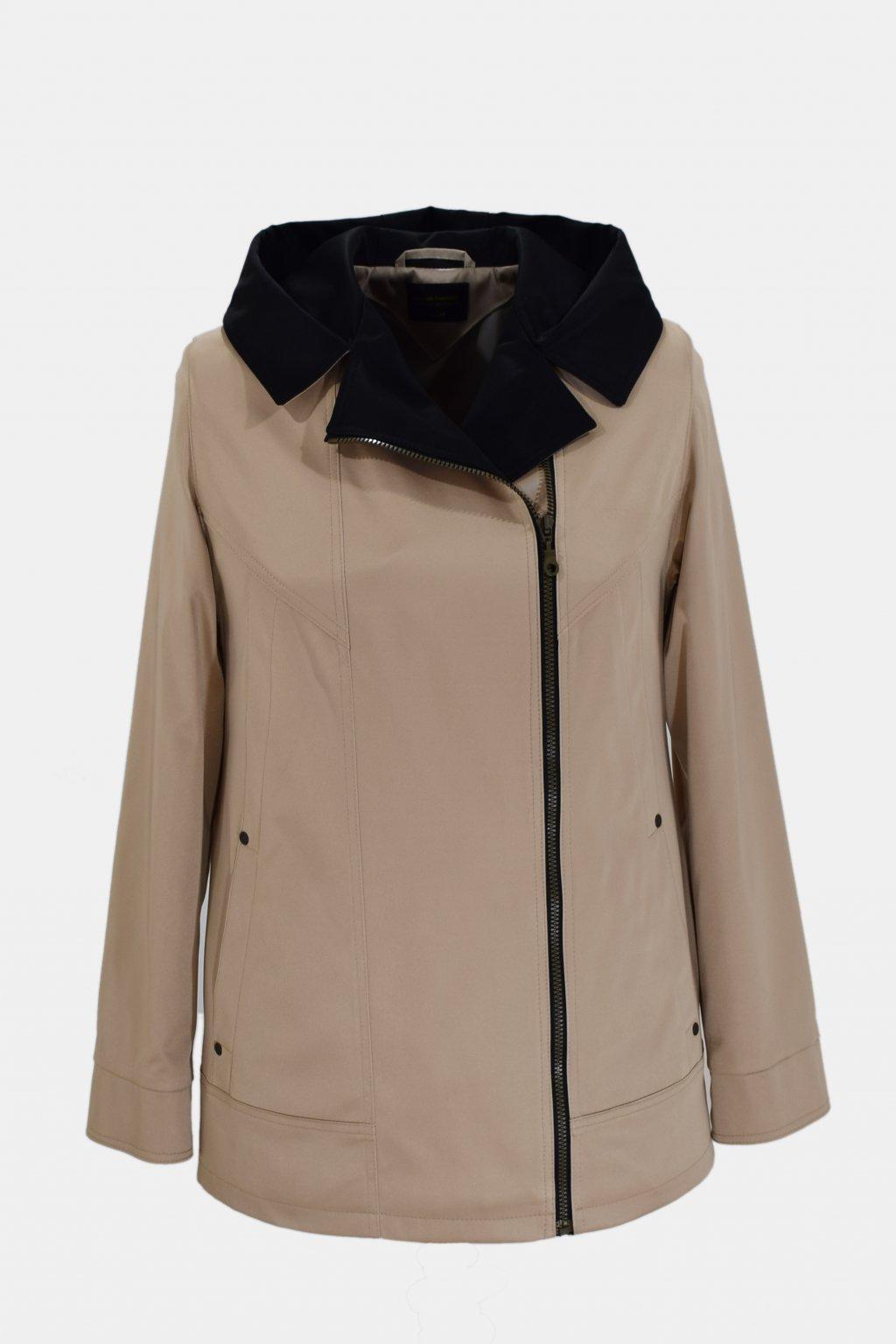 Dámská béžová jarní bunda Marika nadměrné velikosti.
