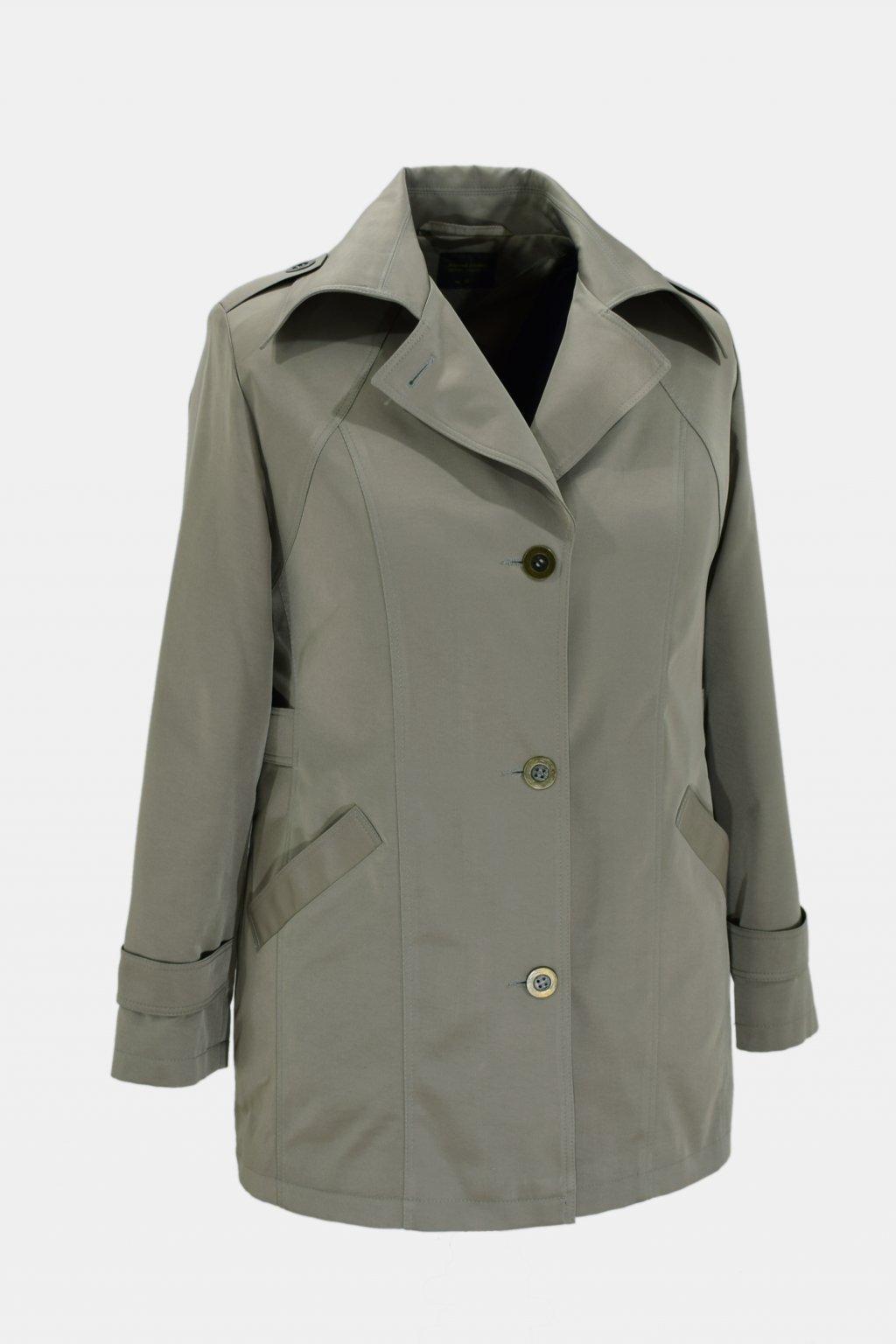 Dámský šedozelená jarní kabátek Klára nadměrné velikosti.