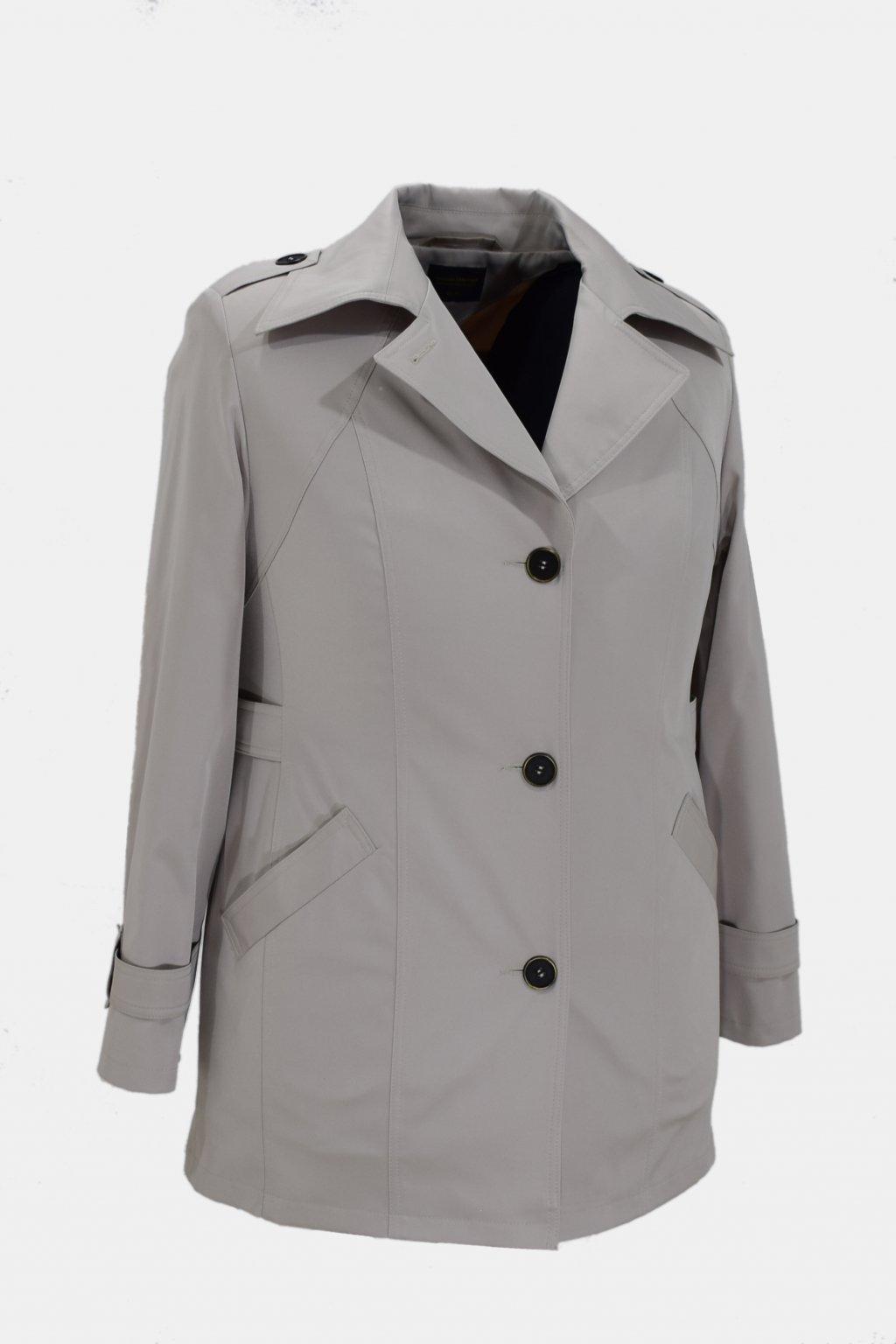 Dámský smetanový jarní kabátek Klára nadměrné velikosti.