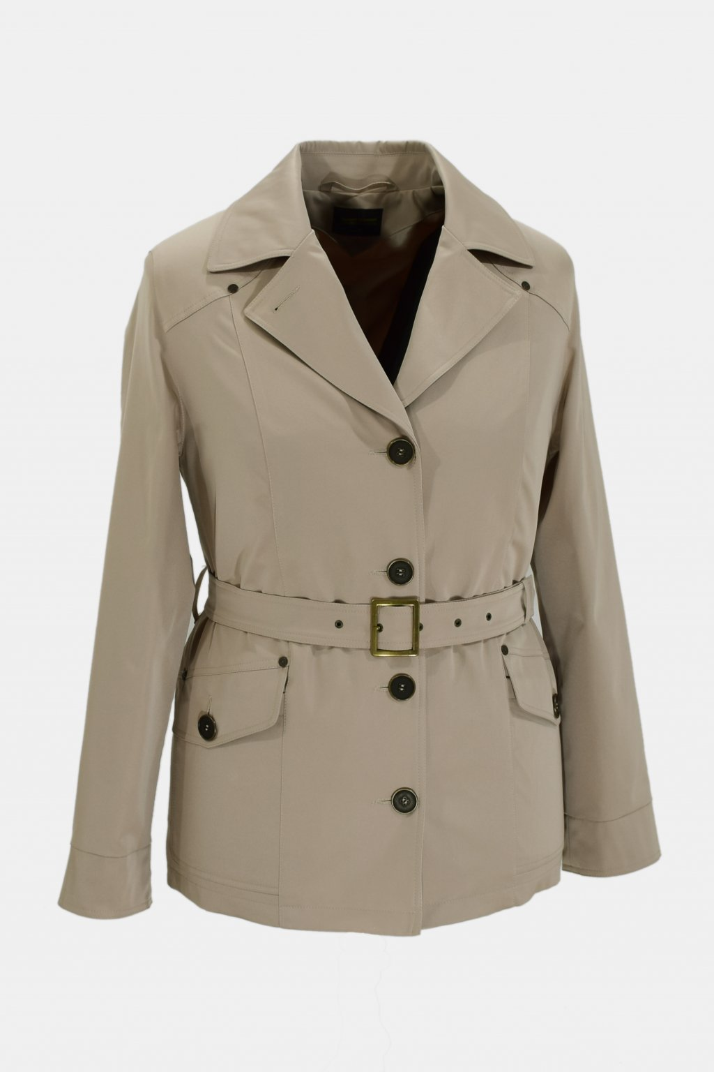 Dámský béžová jarní kabátek Gábina nadměrné velikosti.