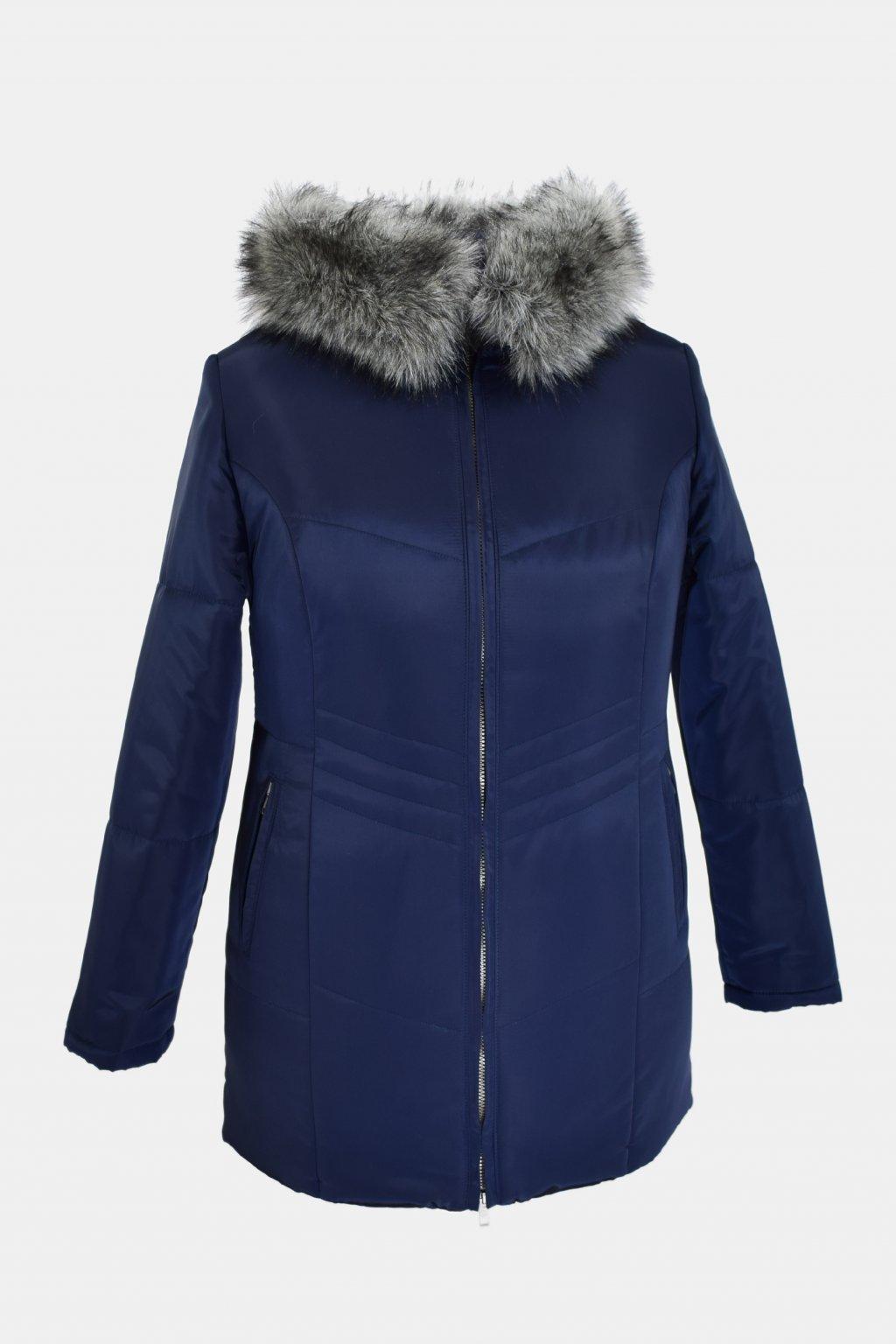 Dámská tmavě modrá zimní bunda Judita nadměrné velikosti