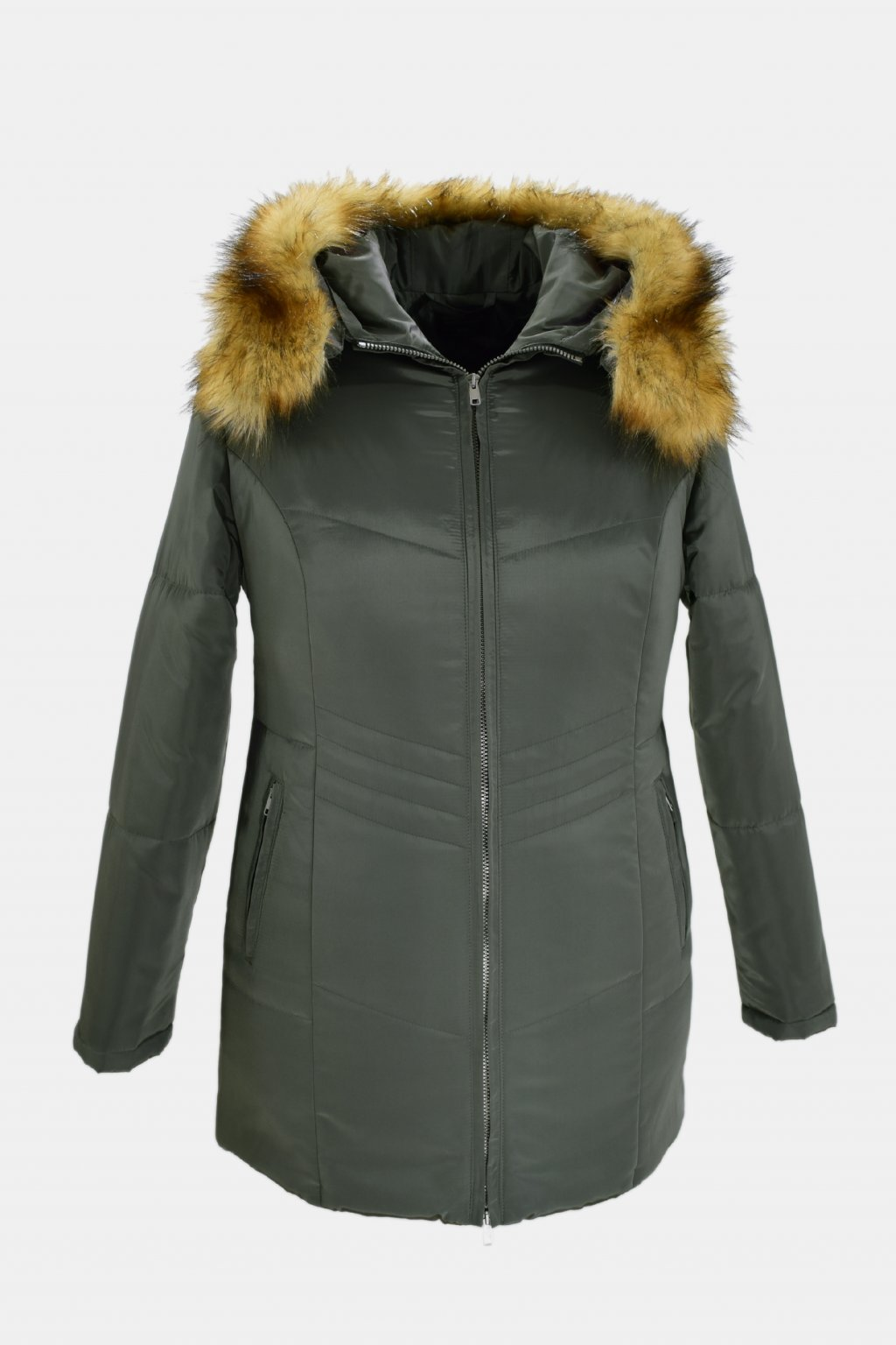 Dámská šedozelená zimní bunda Judita nadměrné velikosti