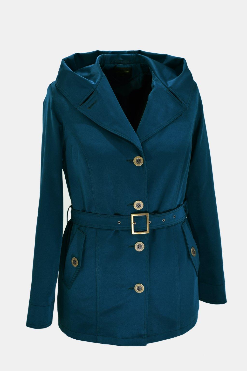 Dámský petrolový jarní kabátek Eva nadměrné velikosti.