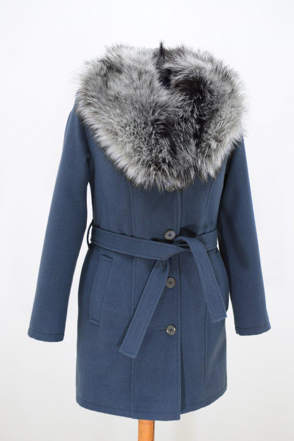 Dámský modrý zimní kabát s kožešinou Julie.