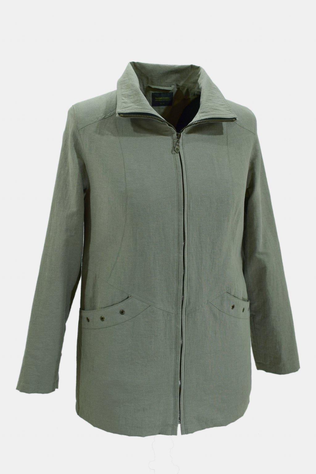 Dámská zelená jarní bunda Aranka nadměrné velikosti.