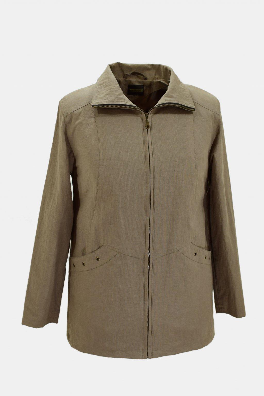 Dámská oříšková jarní bunda Aranka nadměrné velikosti.