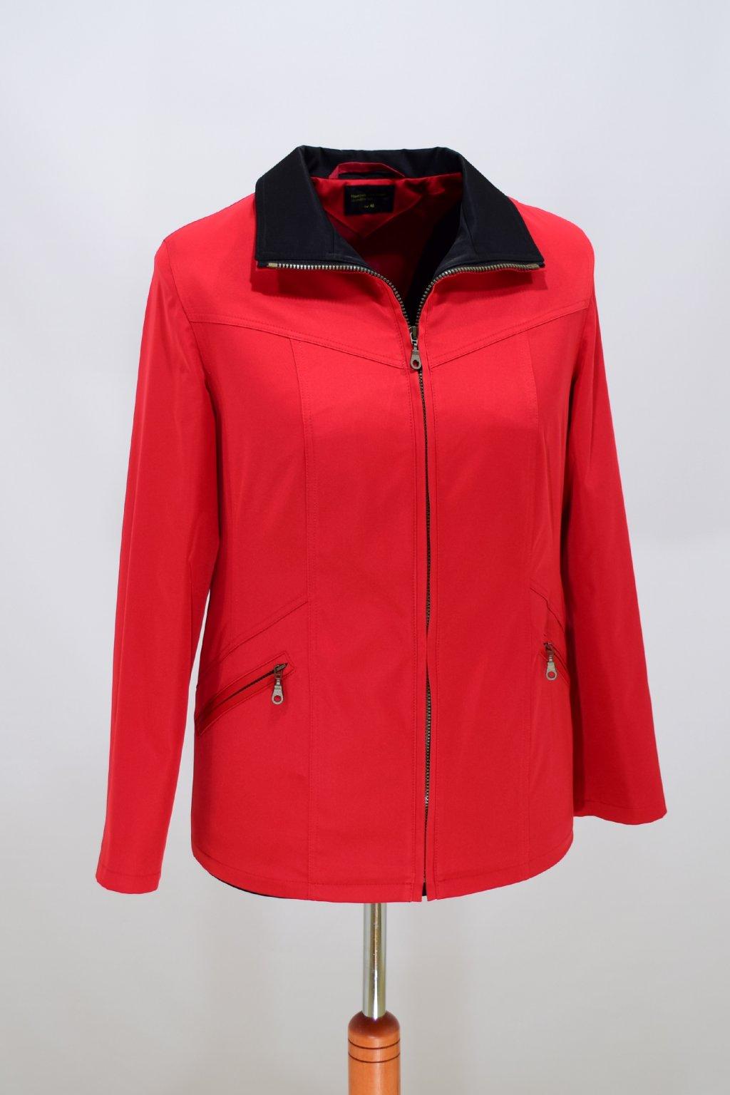 Dámská červená jarní bunda Ema nadměrné velikosti.