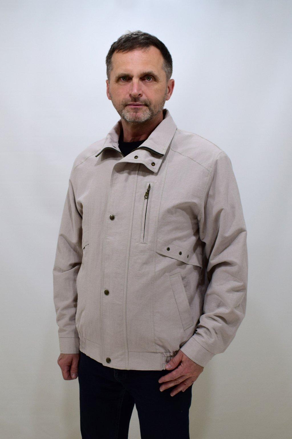 Pánská jarní béžová bunda Boris nadměrné velikosti.