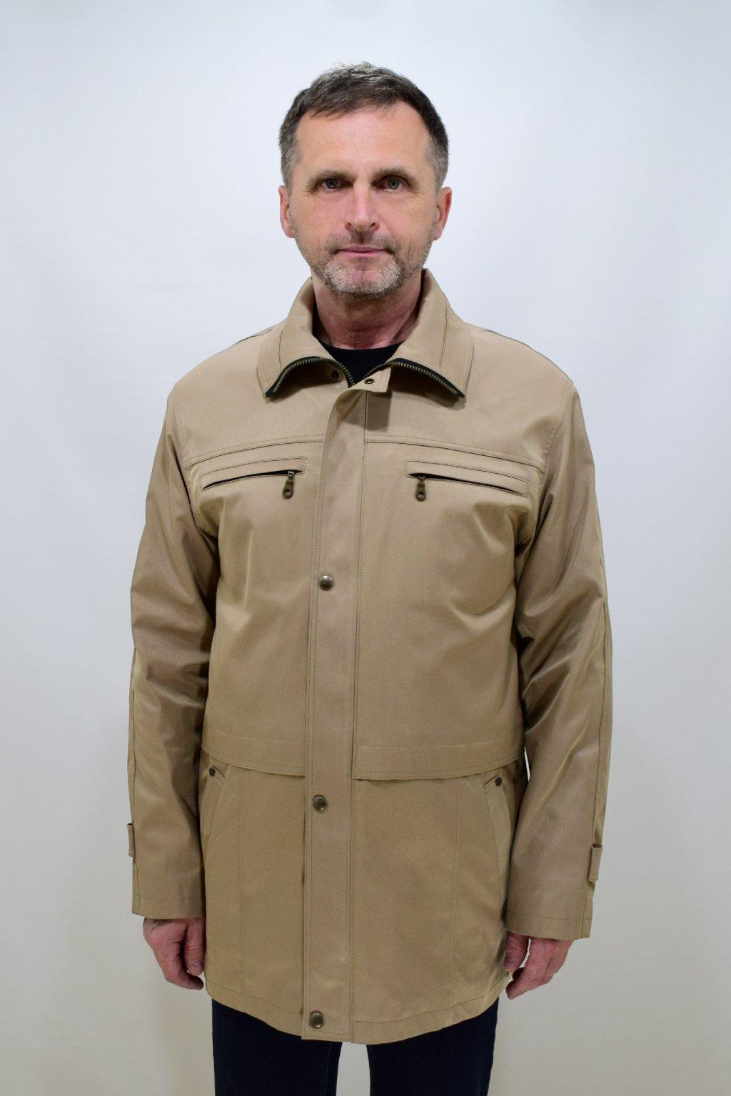 Pánská béžová jarní bunda Aleš nadměrné velikosti.