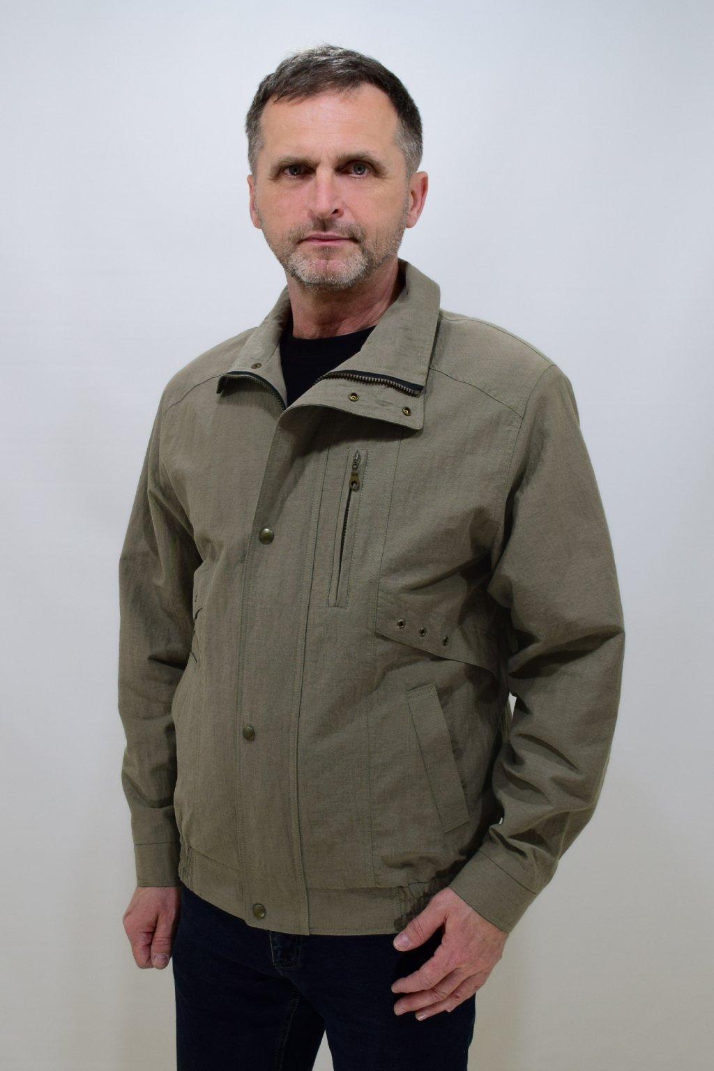 Pánská jarní šedozelená bunda Boris nadměrné velikosti.