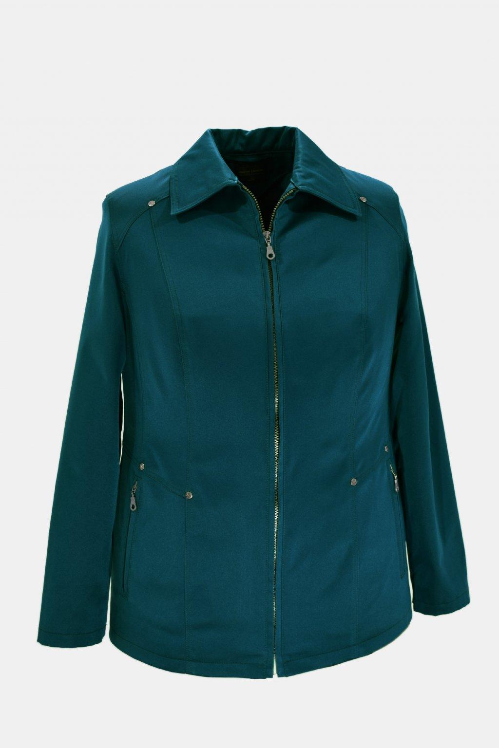 Dámská petrolová jarní bunda Hana nadměrné velikosti.