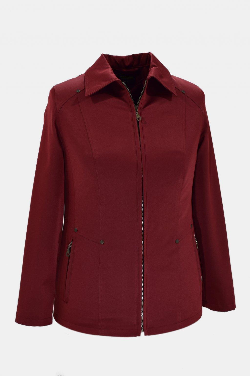 Dámská bordo jarní bunda Hana nadměrné velikosti.