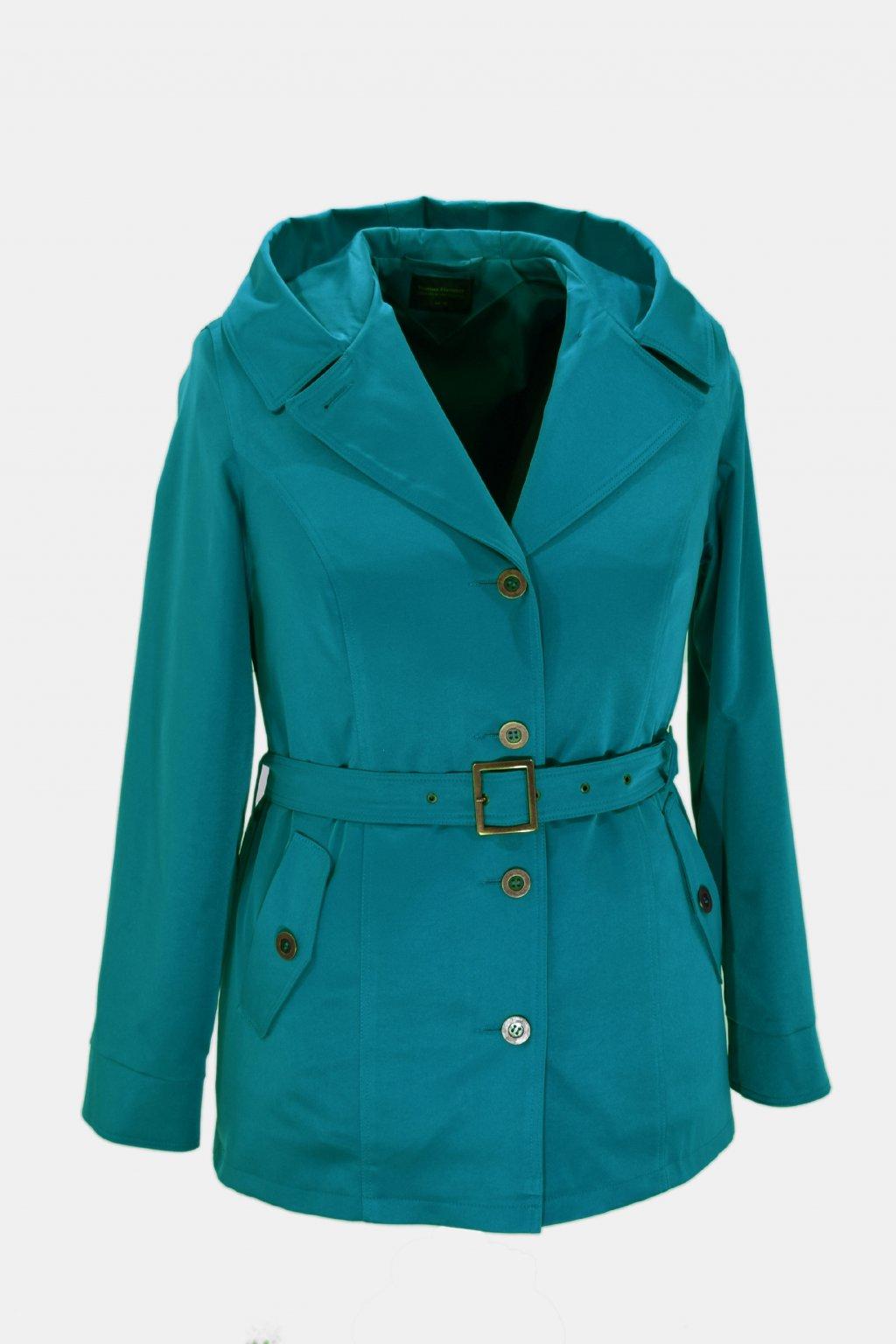 Dámský tyrkysová jarní kabátek Eva nadměrné velikosti.