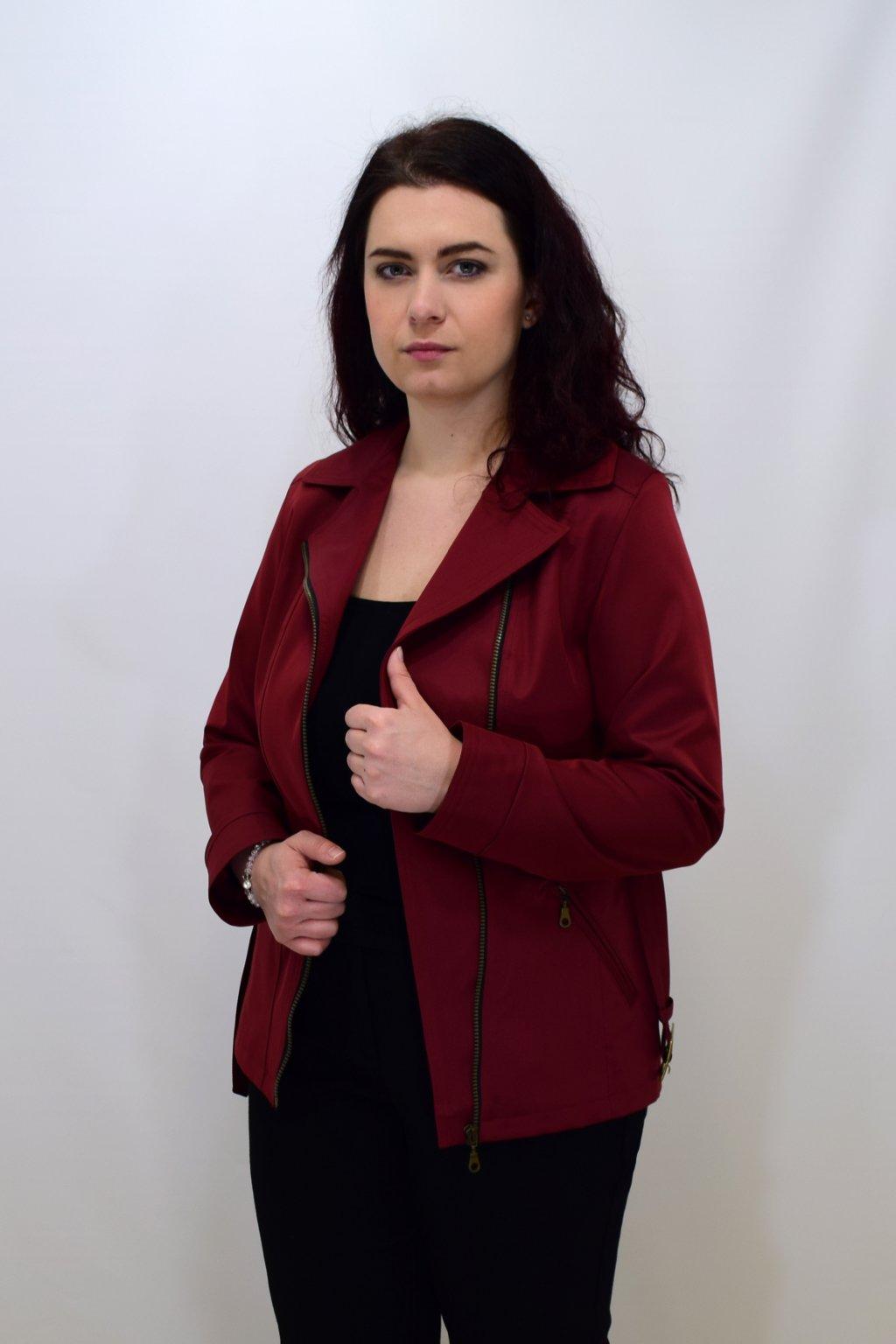 Dámský bordový jarní kabátek Zora nadměrné velikosti