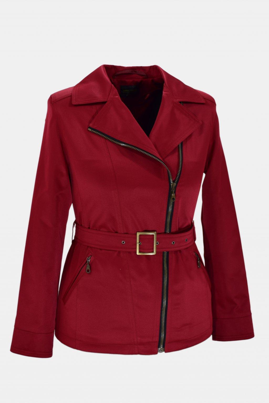 Dámský vínový jarní kabátek Zora nadměrné velikosti