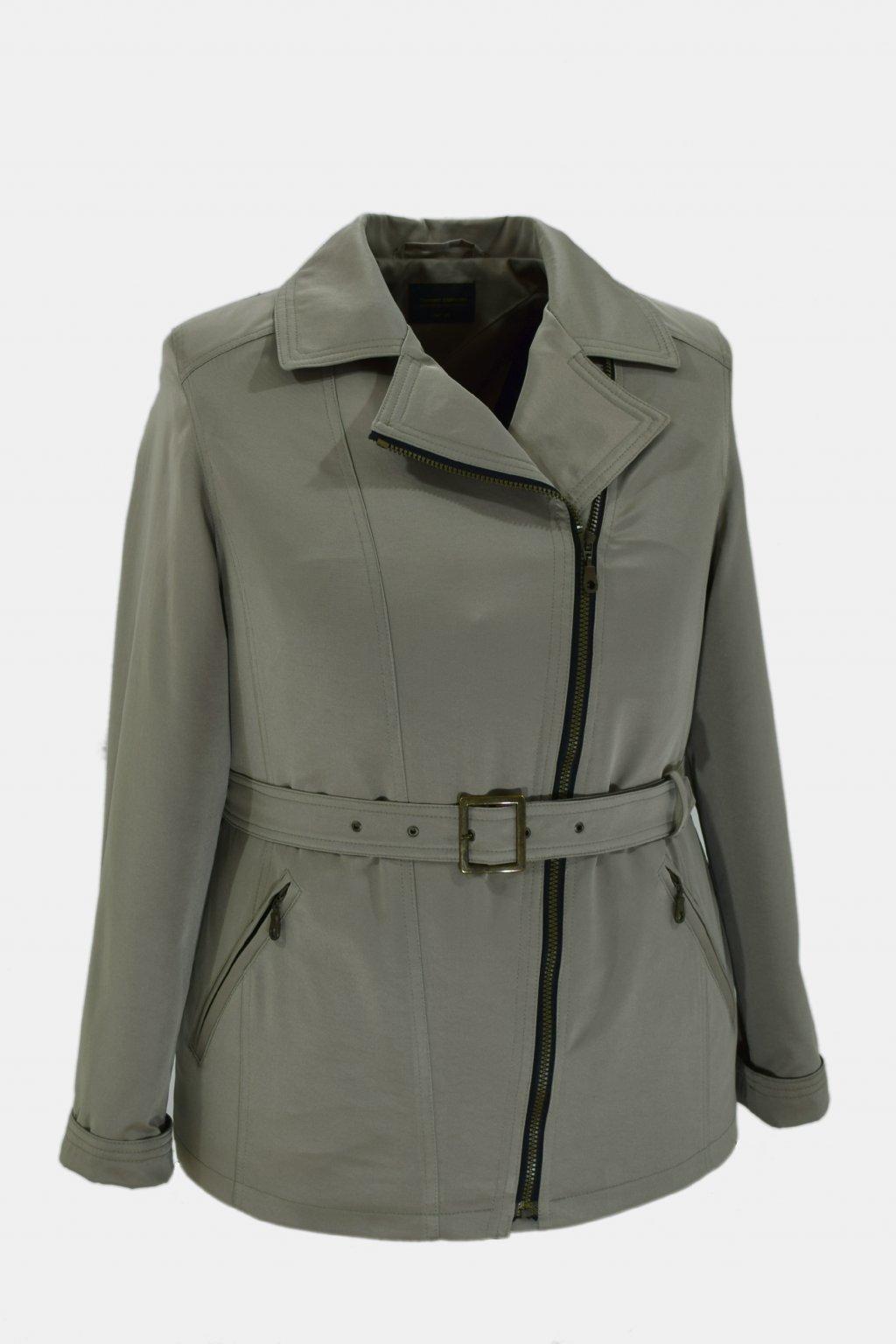 Dámský šedozelený jarní kabátek Zora nadměrné velikosti