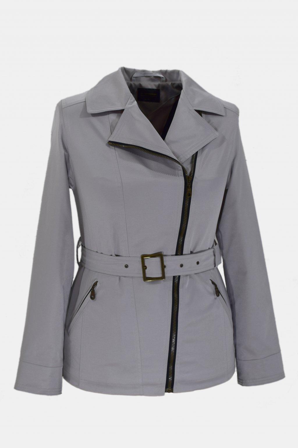 Dámský světle šedý jarní kabátek Zora nadměrné velikosti