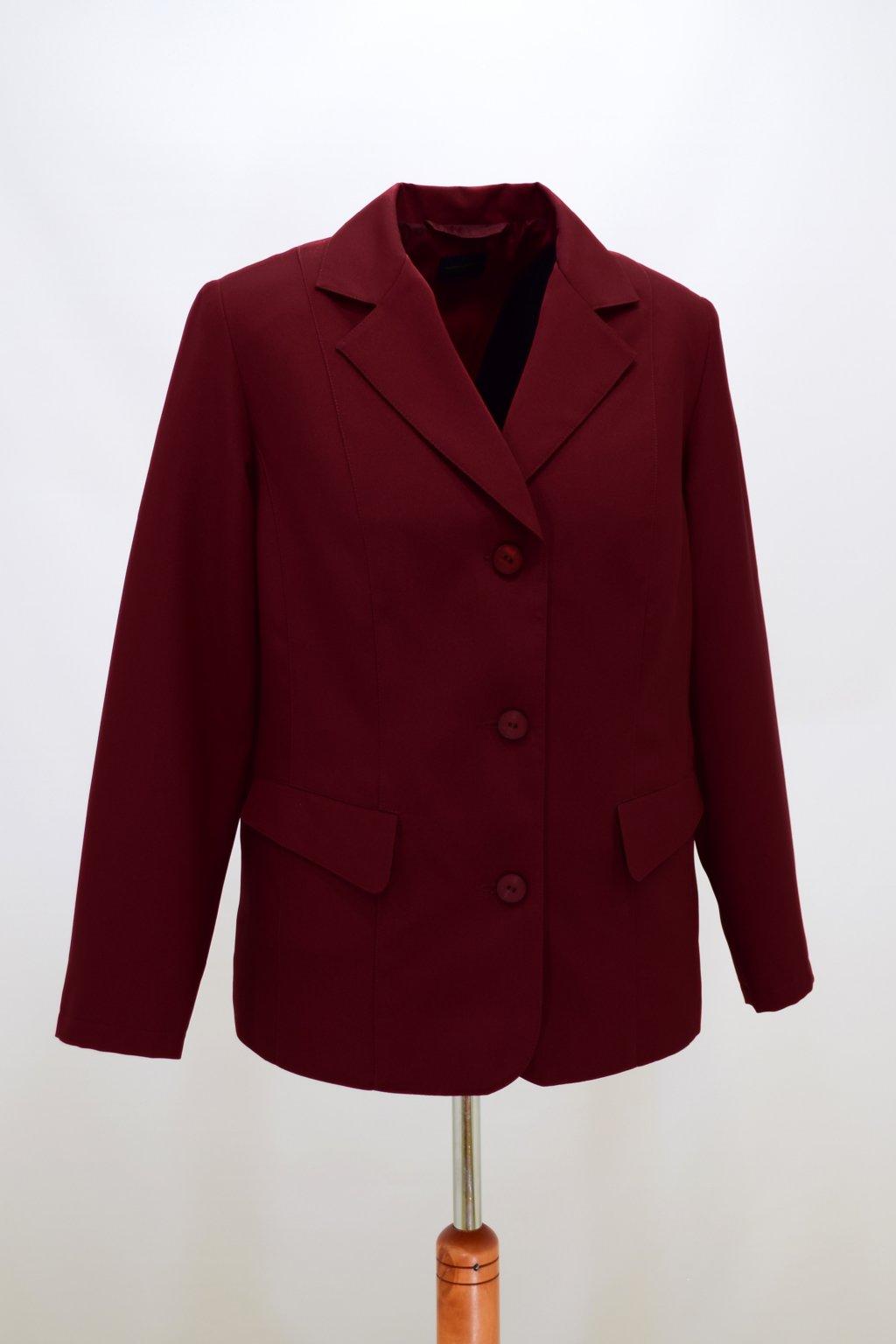 Dámské bordové sako Diana nadměrné velikosti.
