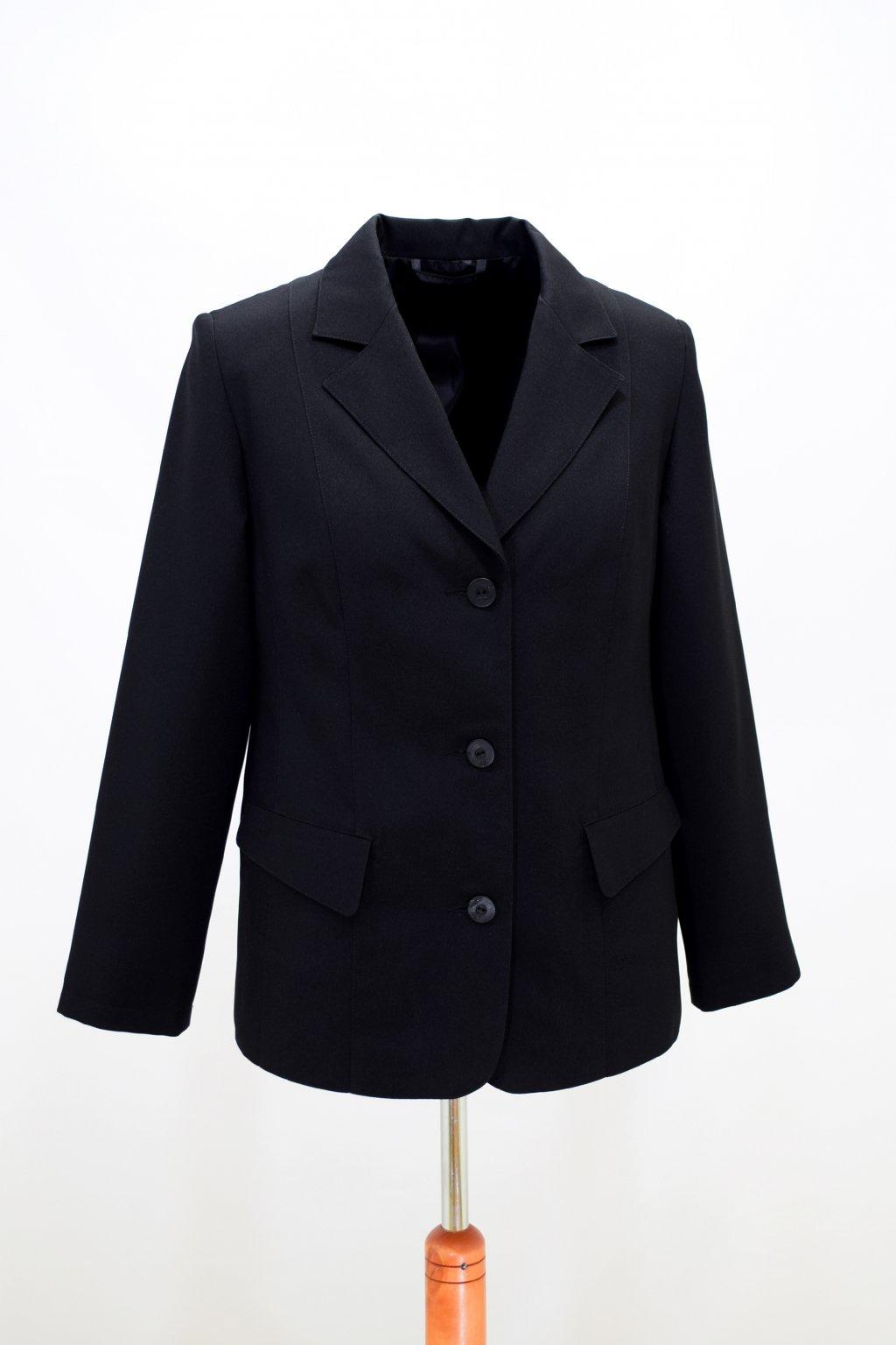 Dámské černé sako Diana nadměrné velikosti.