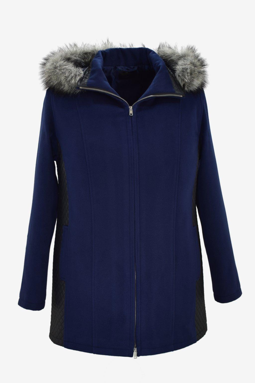 Dámský modrý zimní kabátek Frída nadměrné velikosti.