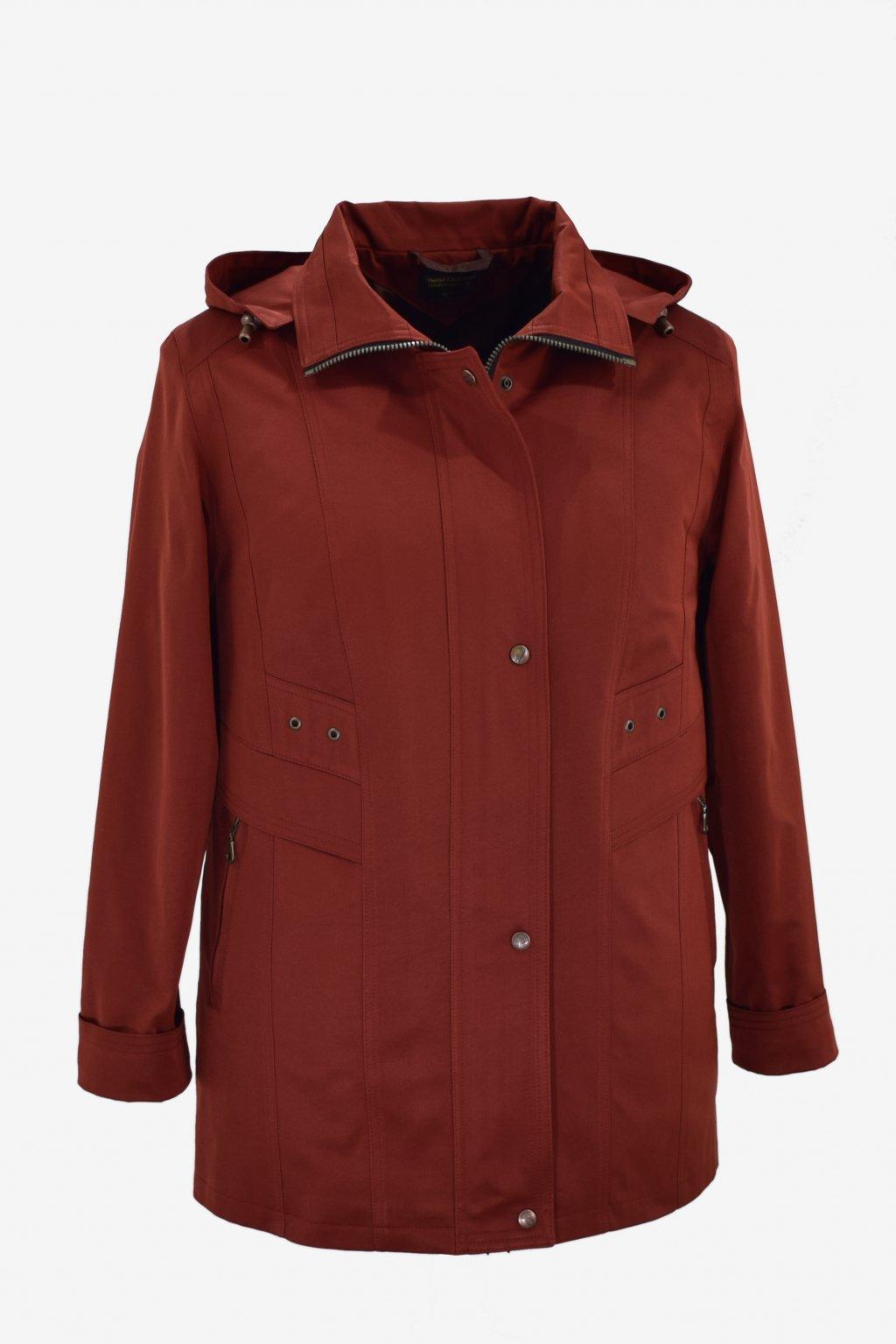 Dámská hnědá jarní bunda Helena nadměrné velikosti.