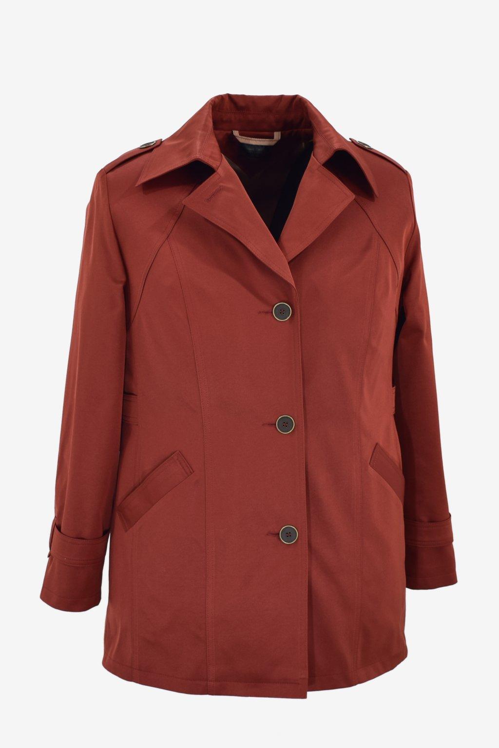 Dámský hnědý jarní kabátek Klára nadměrné velikosti.