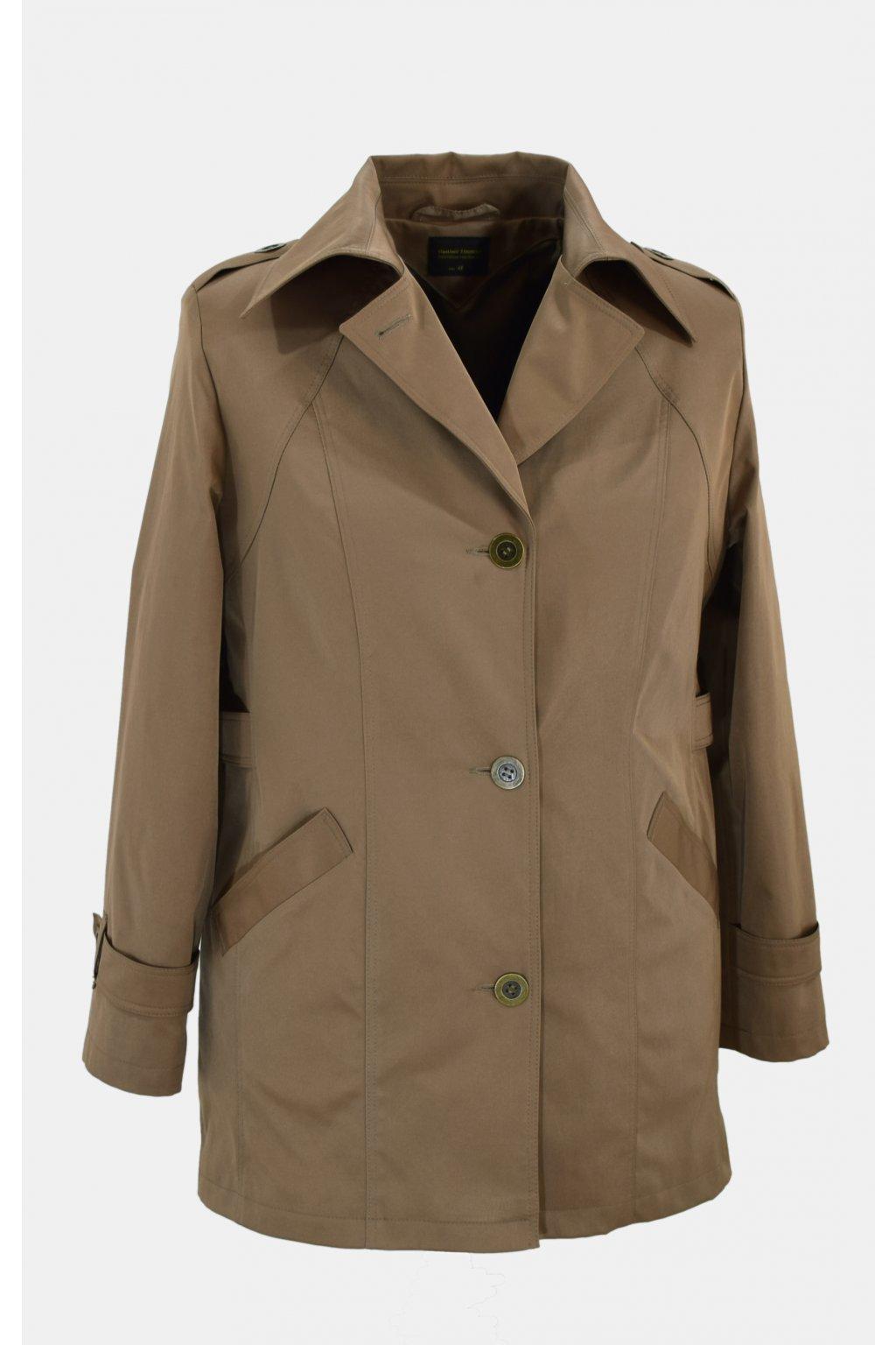 Dámský tmavě béžový jarní kabátek Klára nadměrné velikosti.