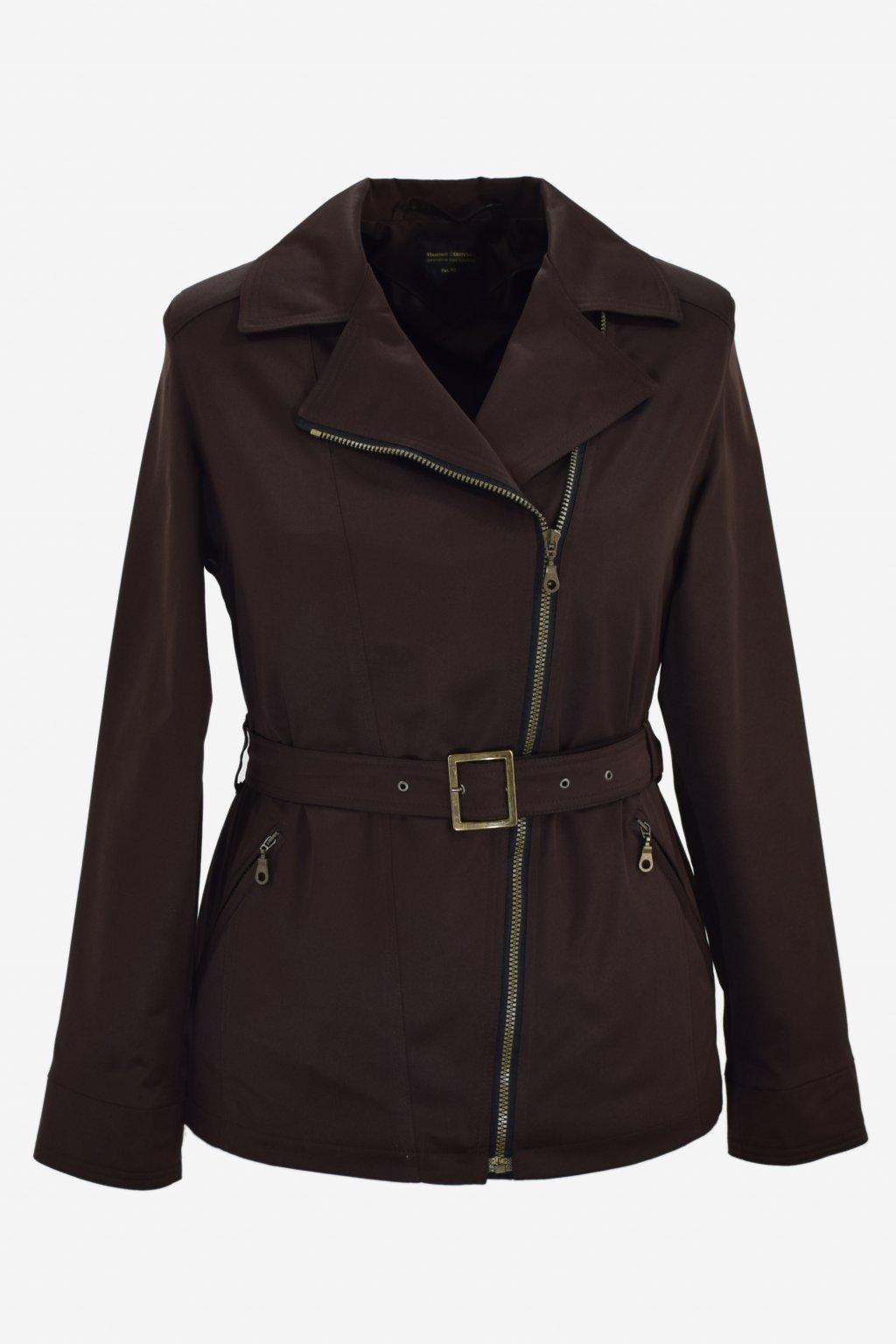 Dámský hnědý jarní kabátek Zora nadměrné velikosti