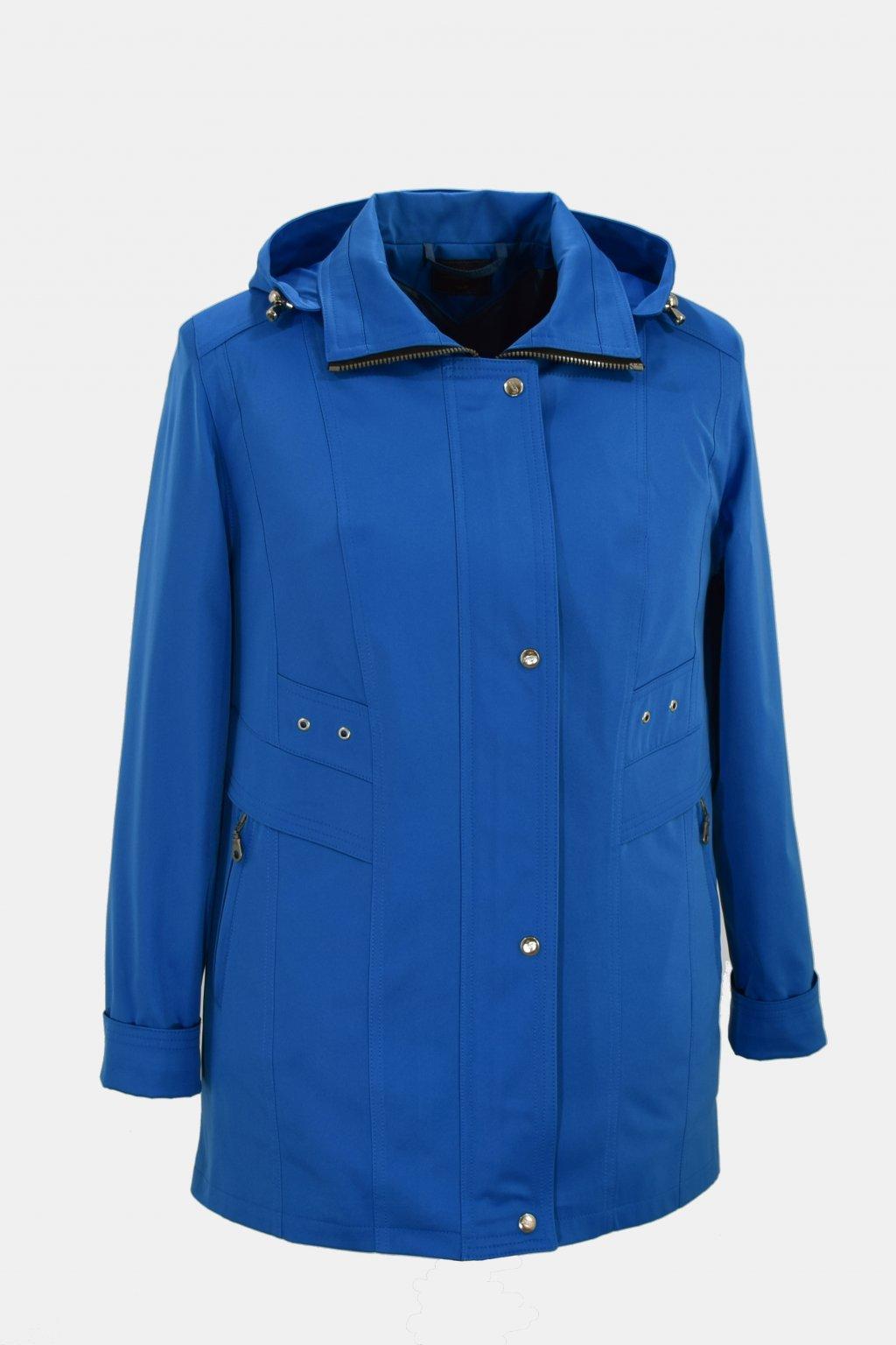 Dámská modrá jarní bunda Helena nadměrné velikosti.