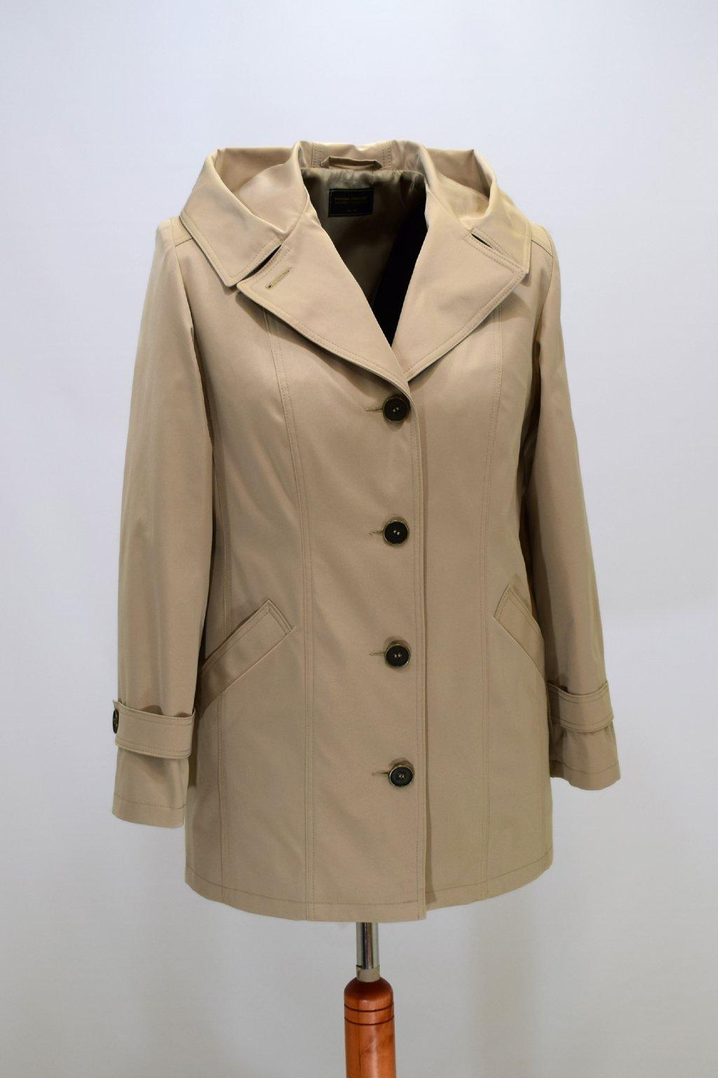 Dámský jarní béžový kabátek Šantal nadměrné velikosti.