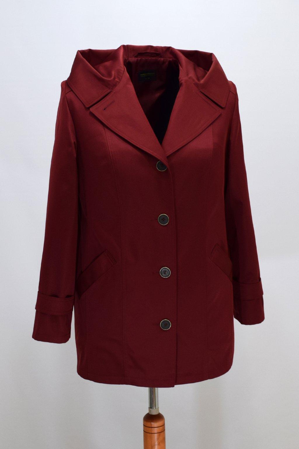 Dámský jarní vínový kabátek Šantal nadměrné velikosti.