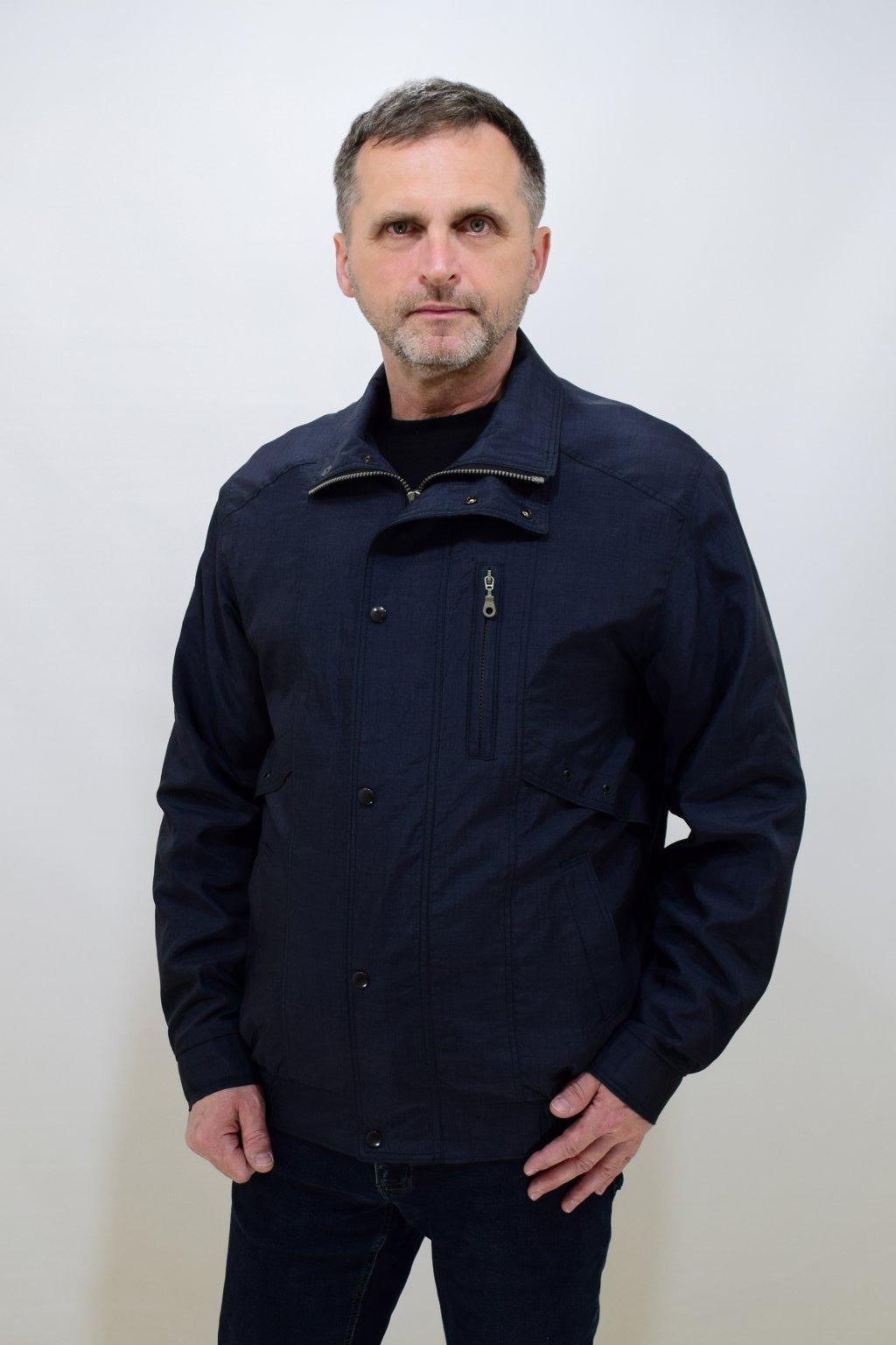 Pánská jarní tmavě šedá bunda Tony nadměrné velikosti.